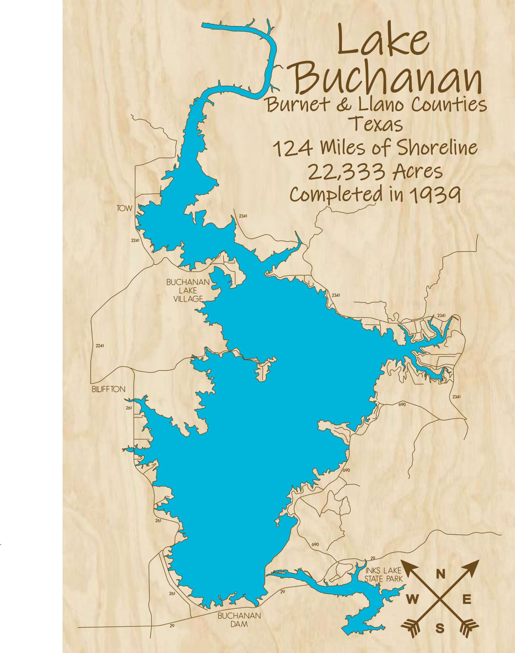 Lake Buchanan Multi-layered Wood Lake Map