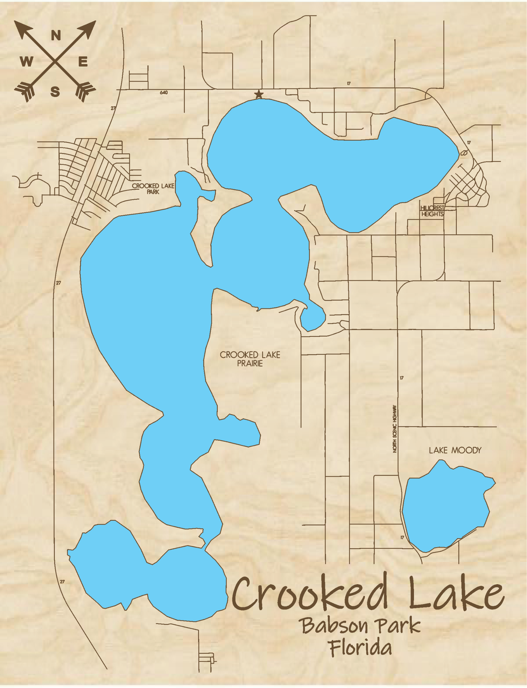 Crooked Lake Multi-layered Wood Lake Map