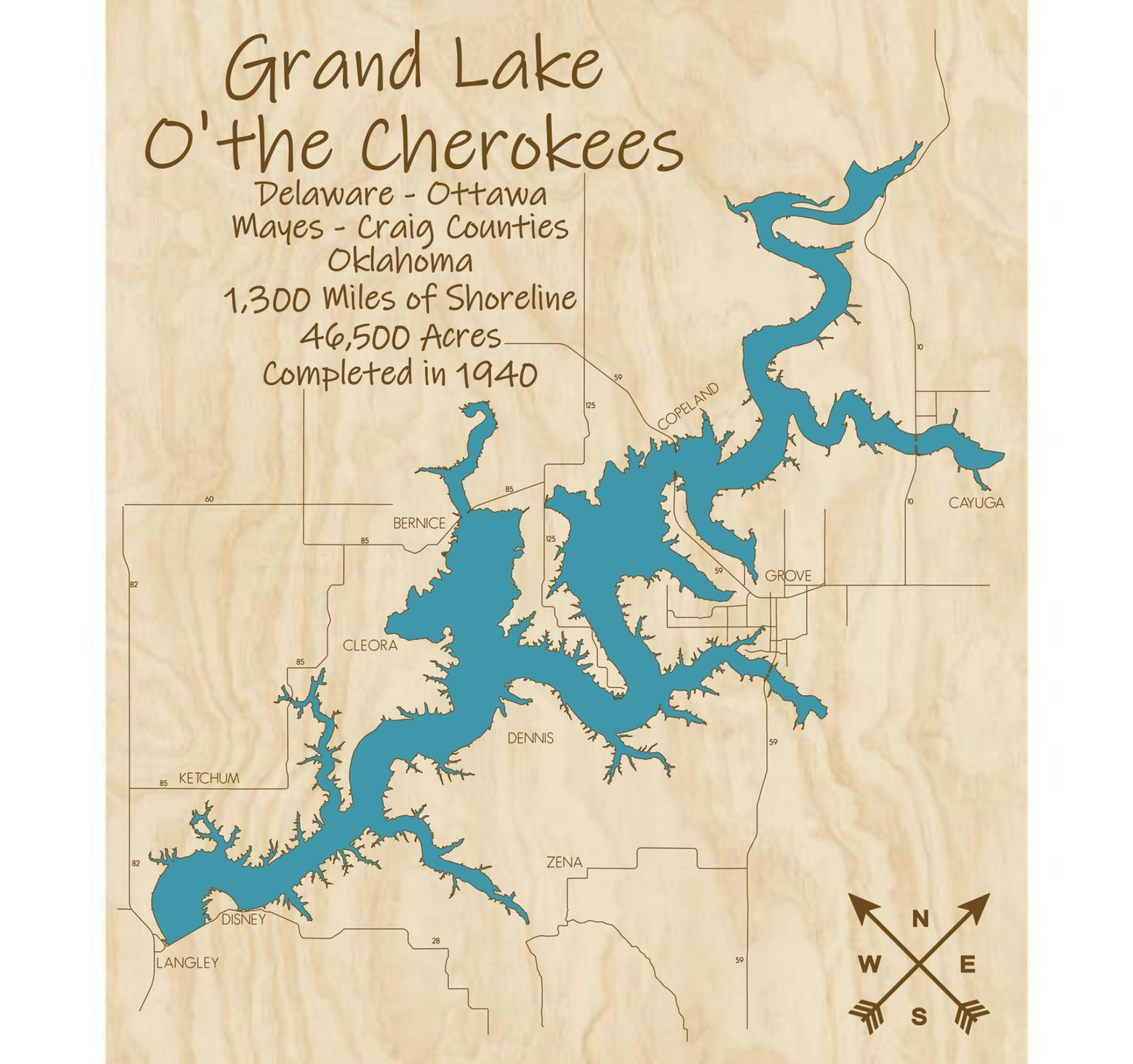 Grand Lake O'the Cherokee Multi-layered Wood Lake Map