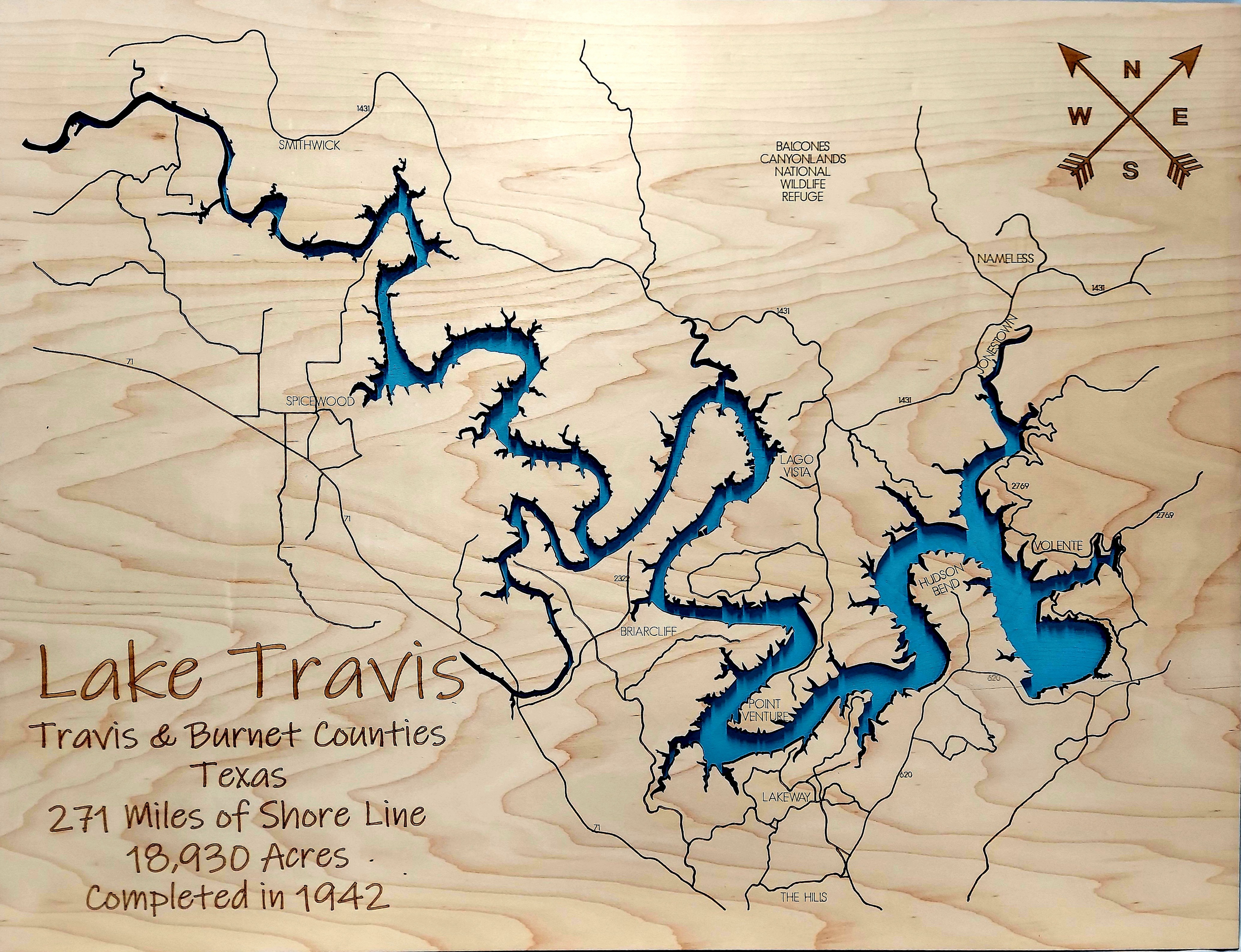 Lake Travis Multi-layered Wood Map