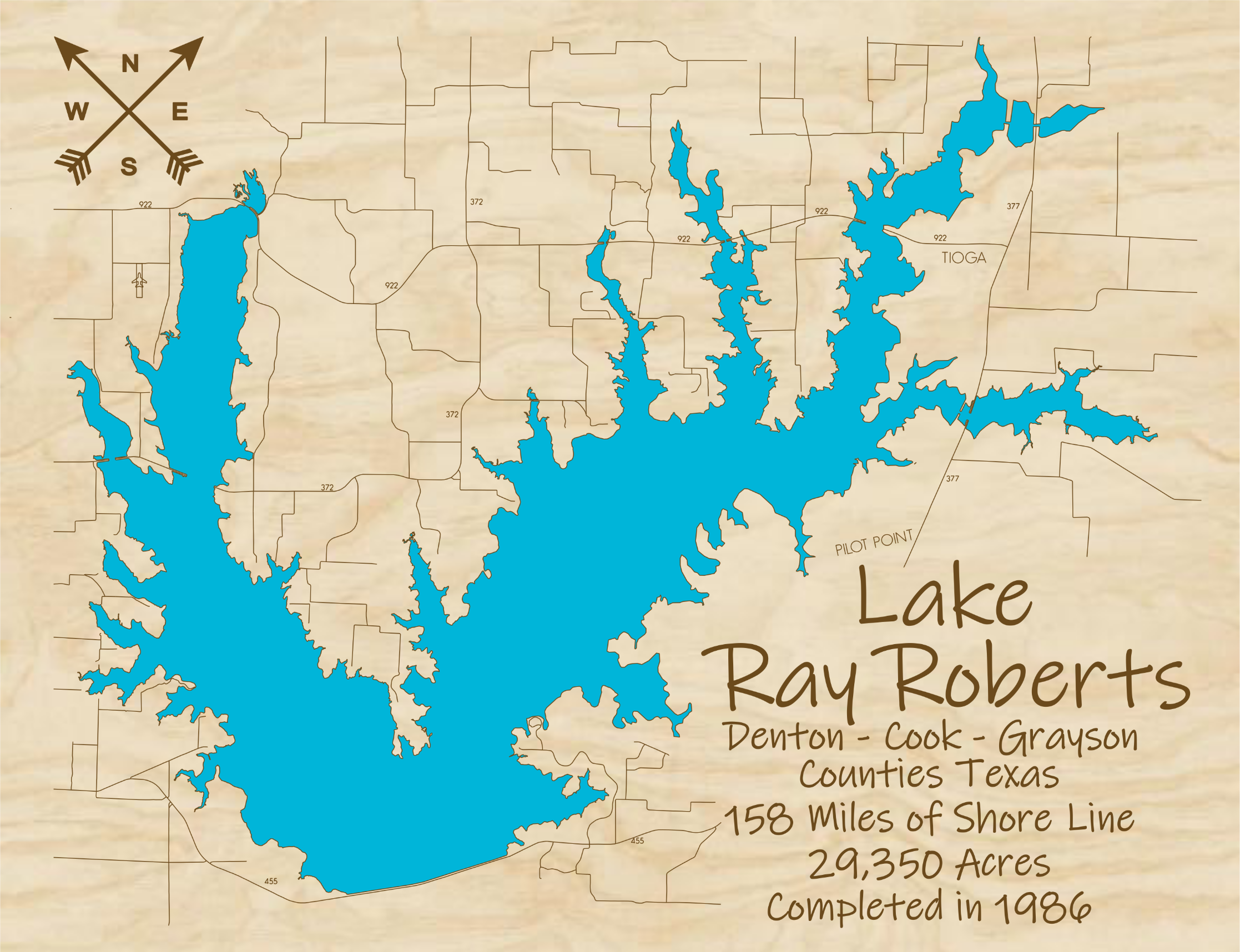 Lake Ray Roberts Multi-layered Wood Lake Map