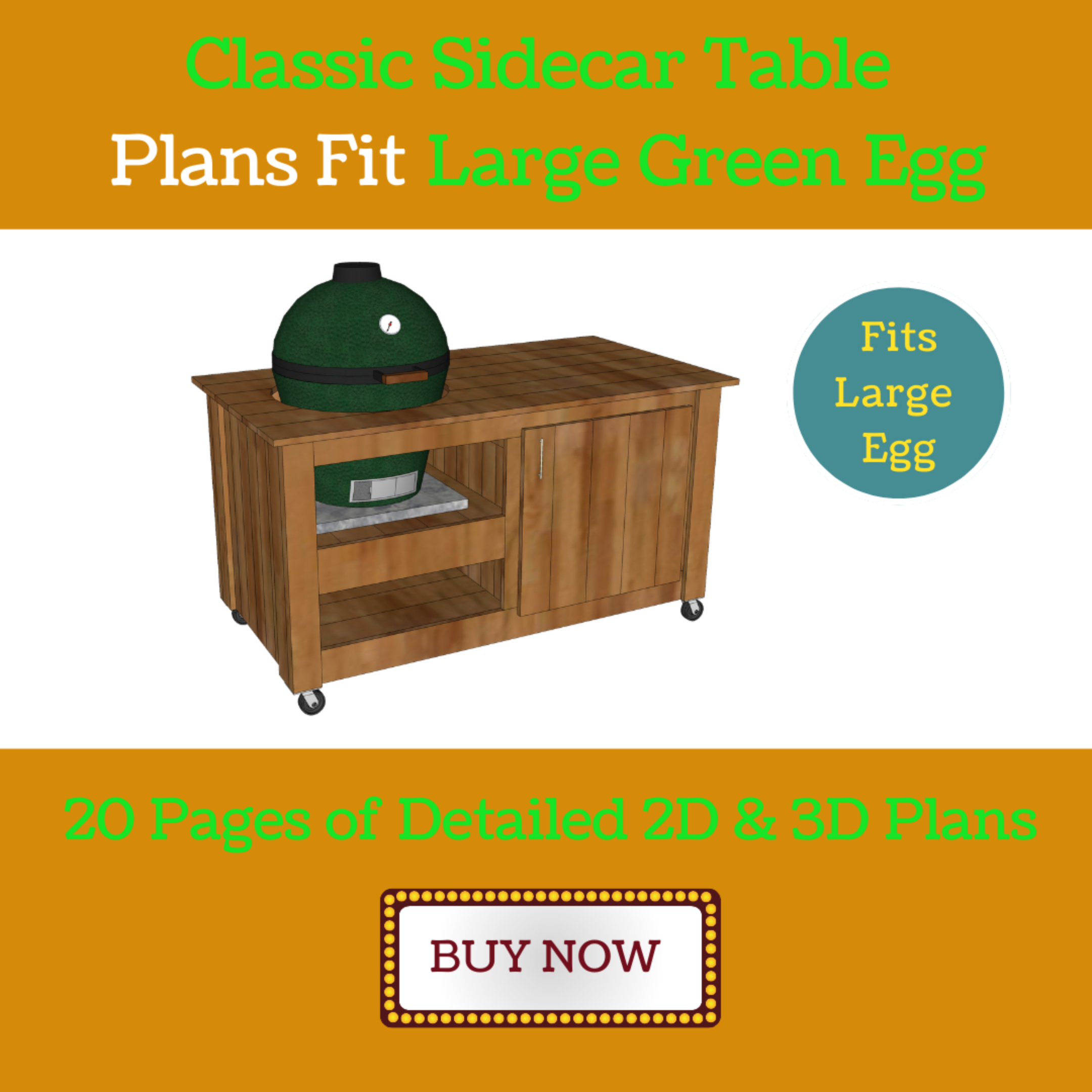 Sidecar Grill Table Plans for Large Green Egg