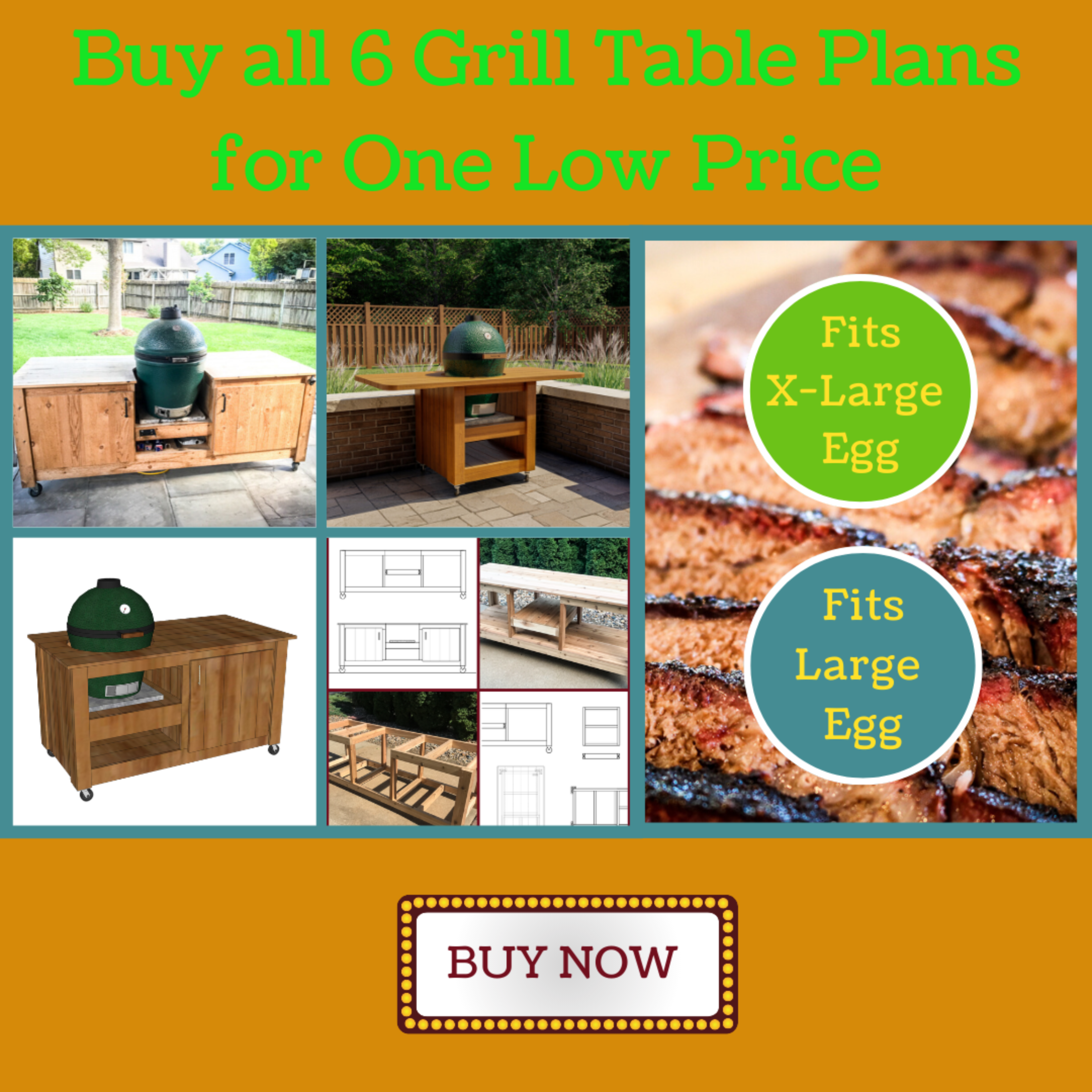 6 DIY Big Green Egg Table Plans for Large & XL Eggs