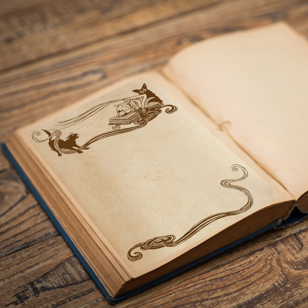 CAT & OWL Blank Pages - Parchment and Grey-scale