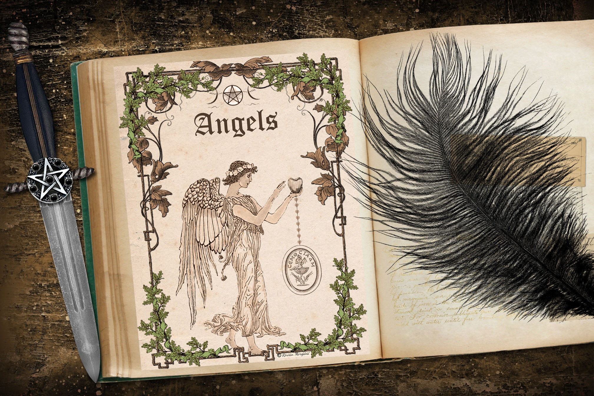 ANGELS Book of Shadows Title Page - Parchment