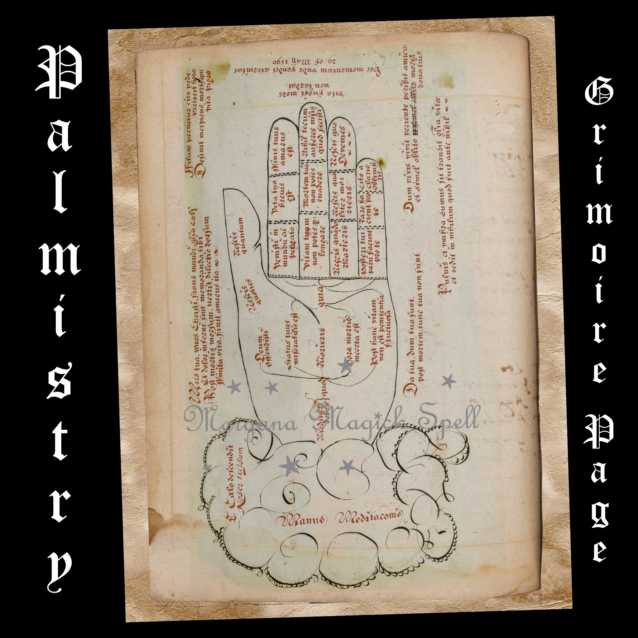 Ancient Hand-drawn Parchment - PALMISTRY