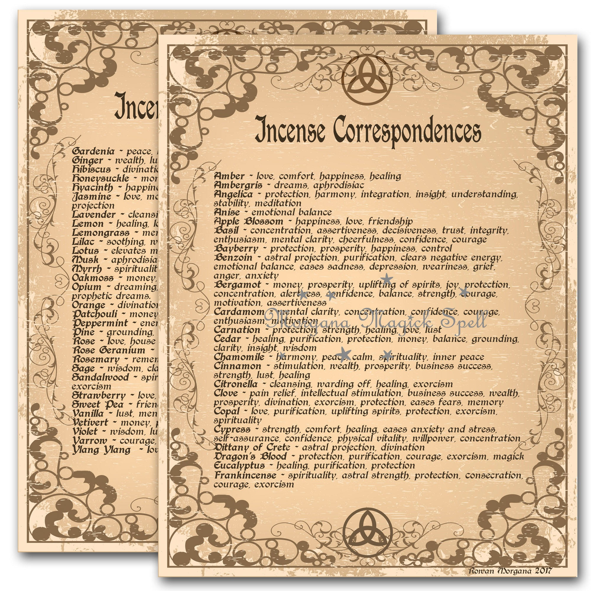 INCENSE CORRESPONDENCES
