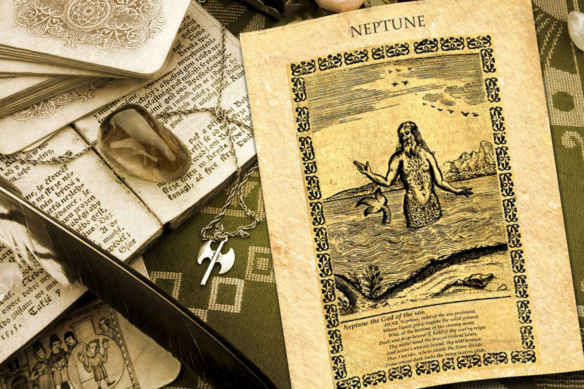 GOD NEPTUNE Ancient Parchment