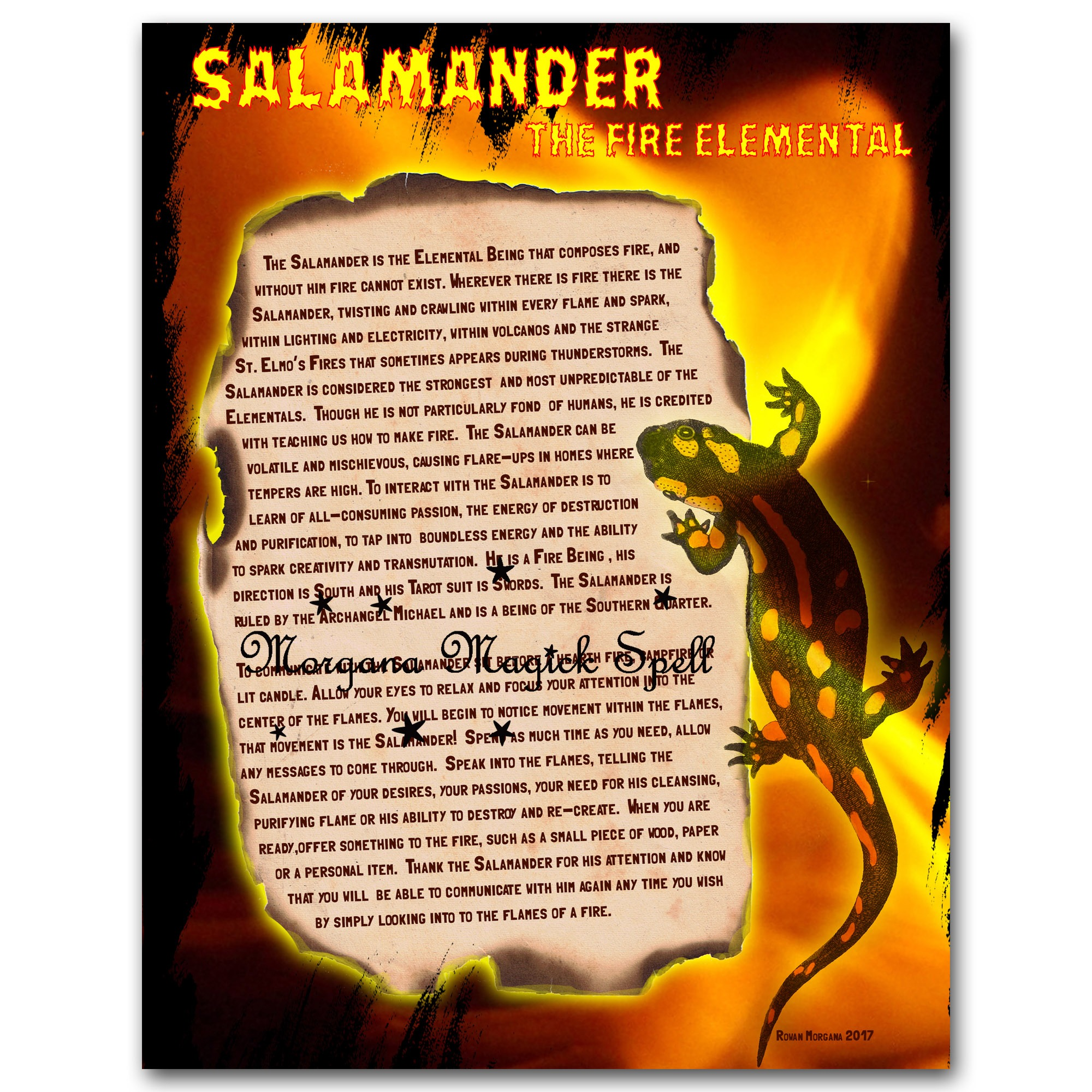 SALAMANDER the FIRE ELEMENTAL Realm of the Fey Lore