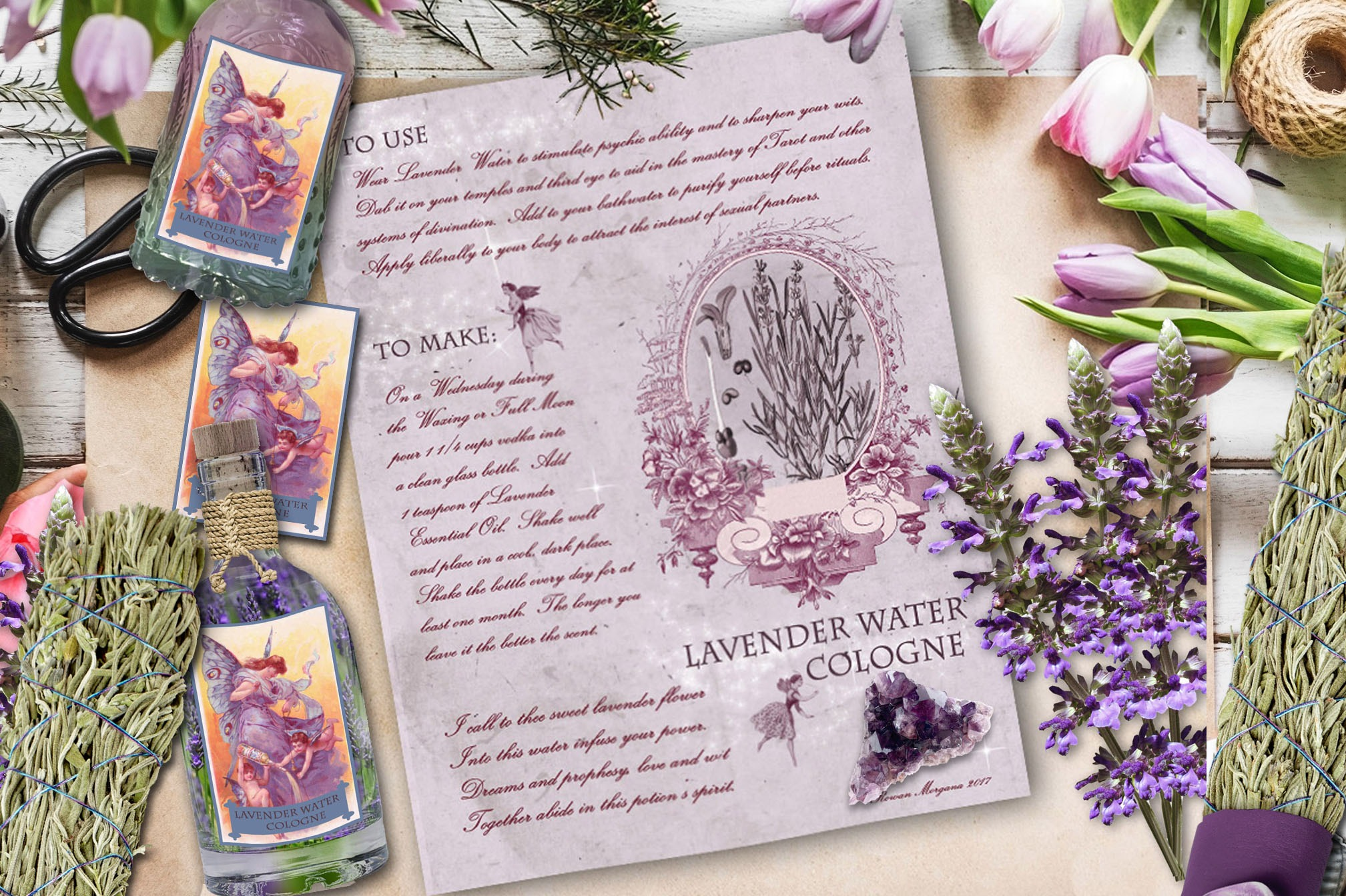 LAVENDER WATER COLOGNE  Recipe & Label Sheet