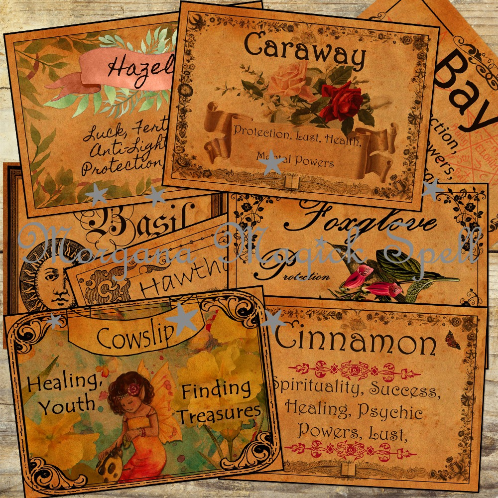 36 WITCHCRAFT APOTHECARY LABELS # 2  - Herbs and their Magickal  Uses