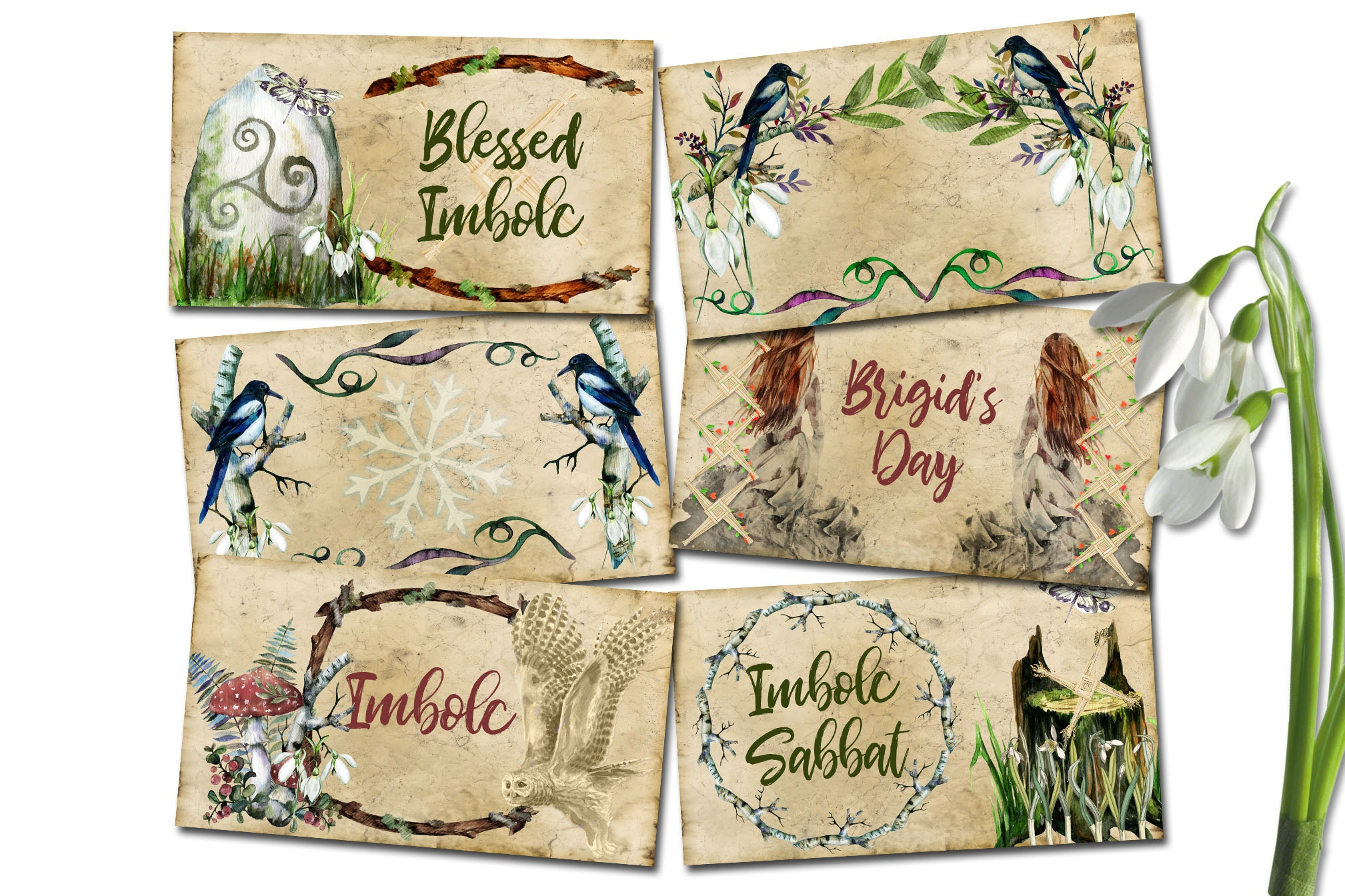 IMBOLC LABELS *6 Labels*- Printable Instant Download