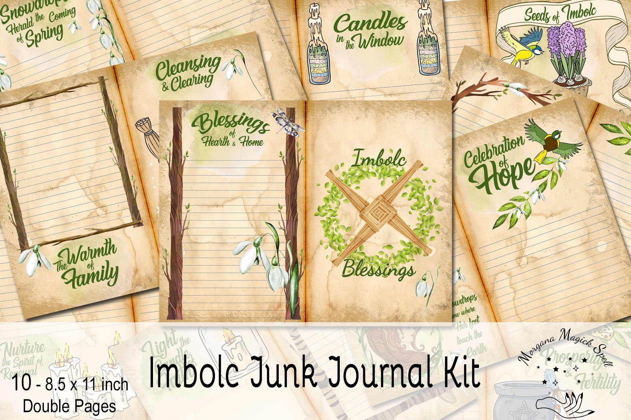 IMBOLC JUNK JOURNAL Kit  - 10 Printable Pages