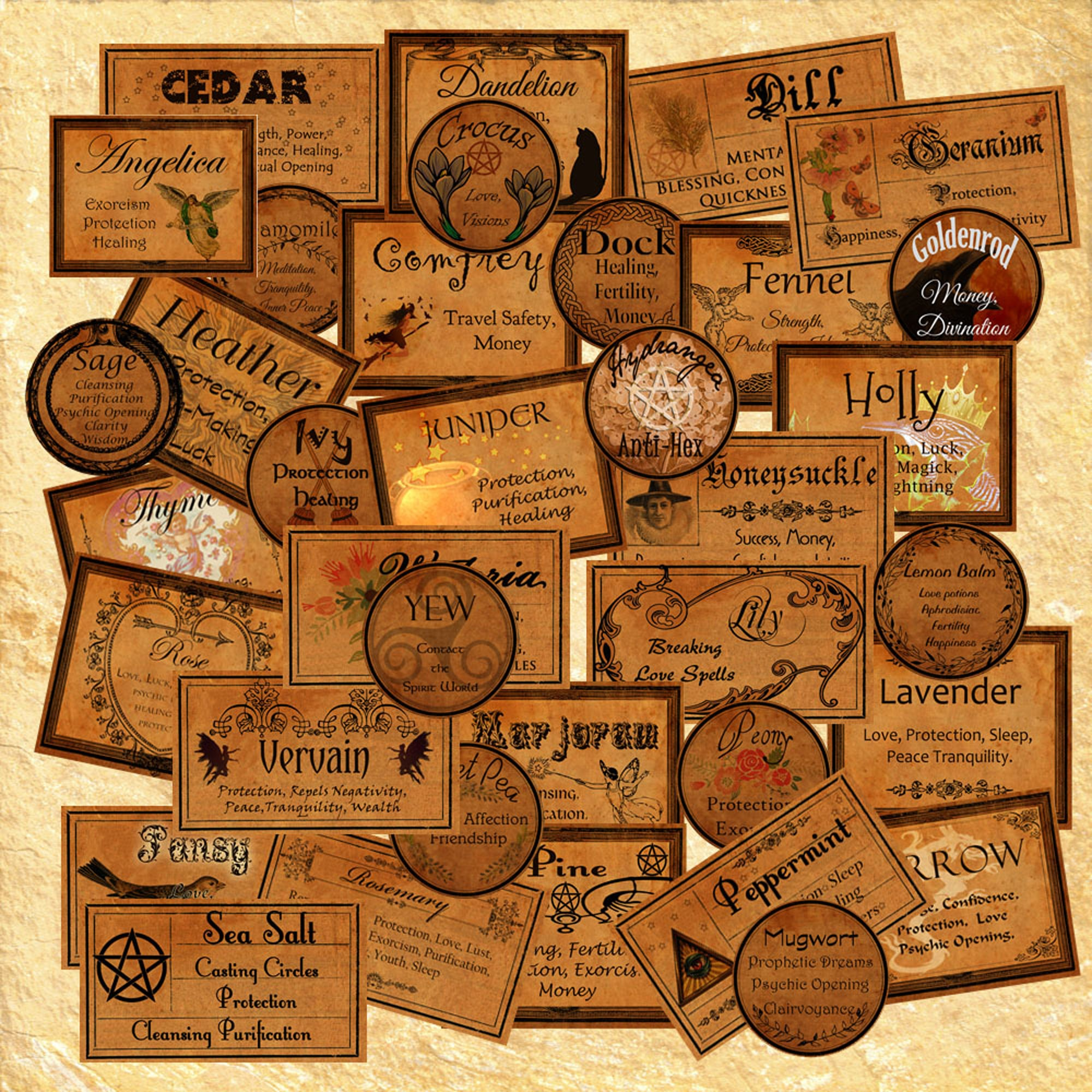 37 WITCHCRAFT APOTHECARY LABELS #1 - Herbs and their Magickal  Uses