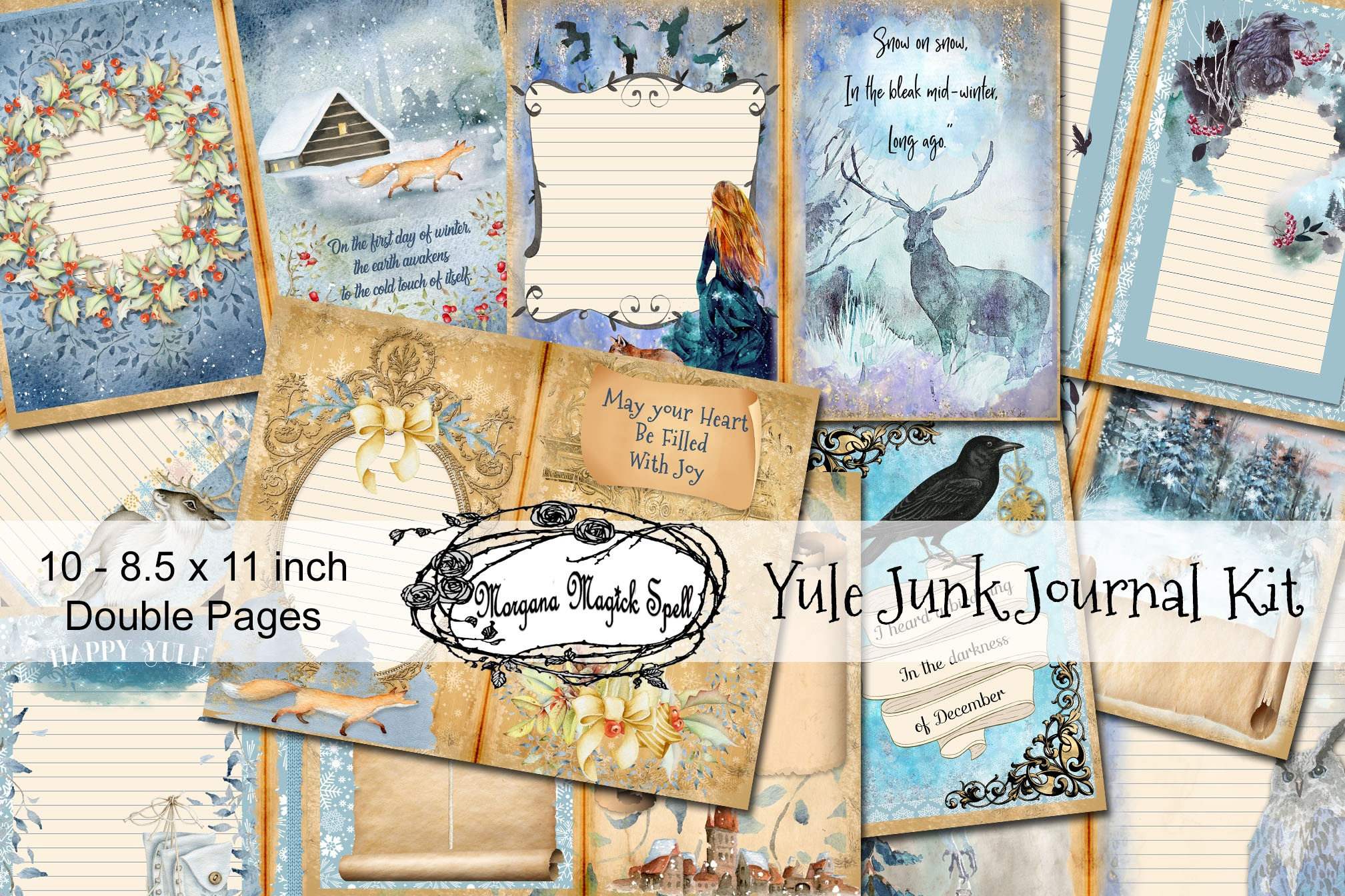 YULE JUNK JOURNAL Kit  - 10 Printable Pages