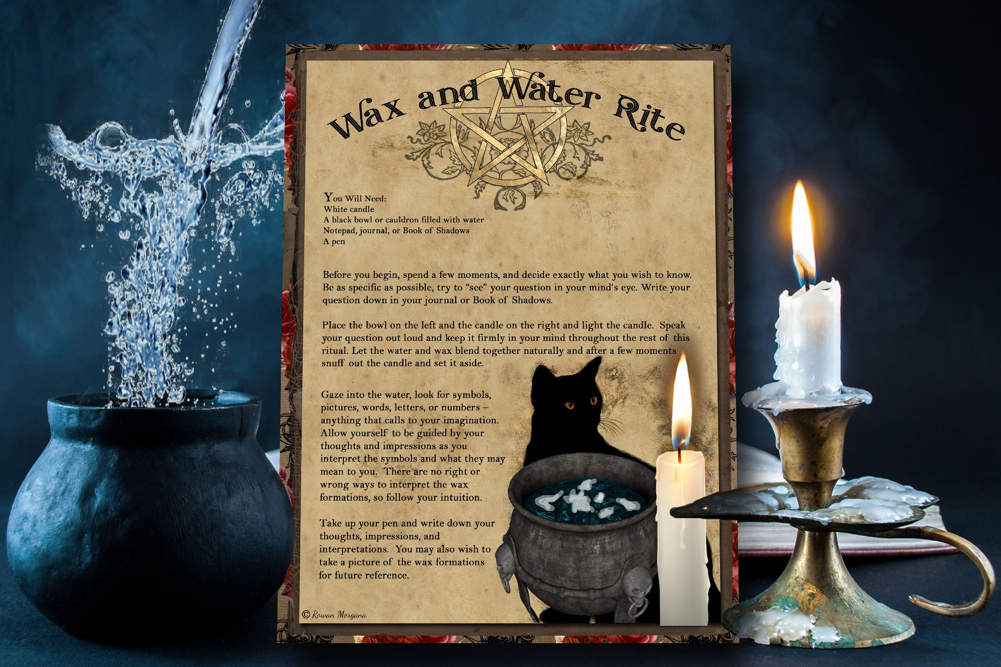 WAX and  WATER RITE -  Printable Page for Book of Shadows
