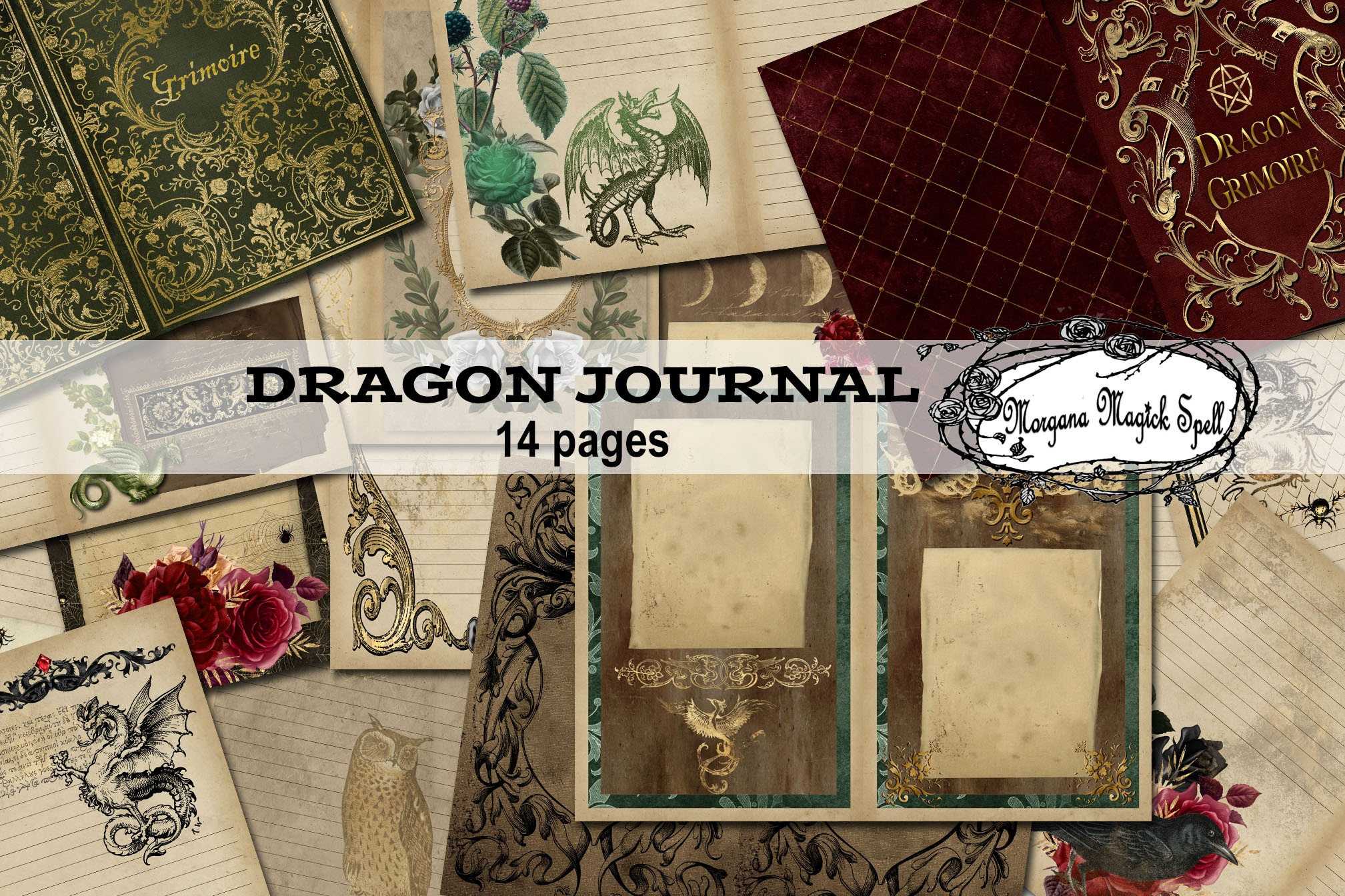 DRAGON GRIMOIRE Junk Journal Kit  - 14 Printable Pages