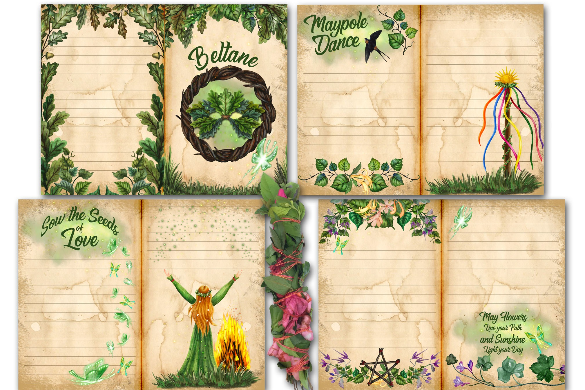 BELTANE JUNK JOURNAL Kit - 10 Printable Pages