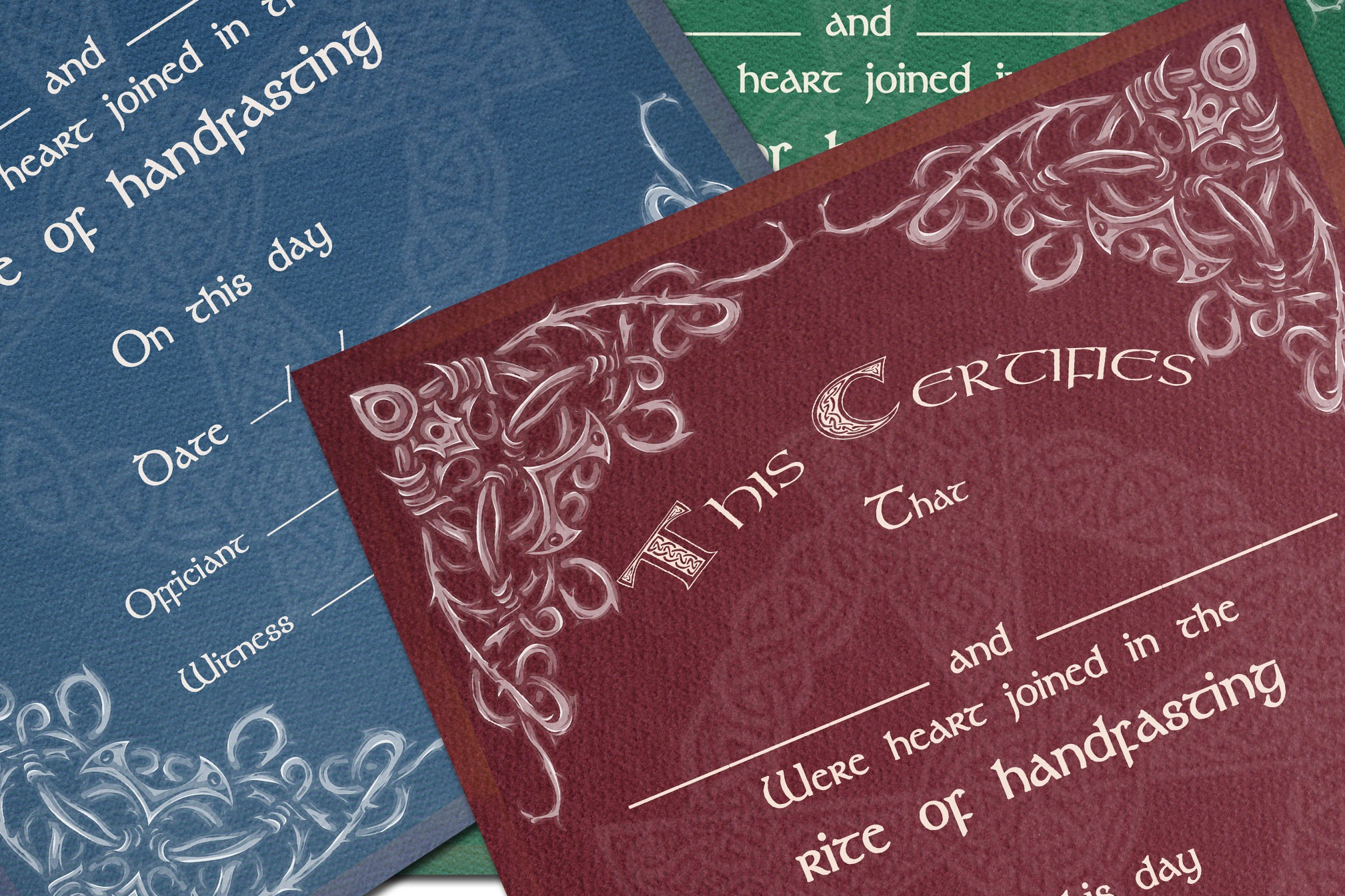 HANDFASTING CERTIFICATE Celtic - 3 colors