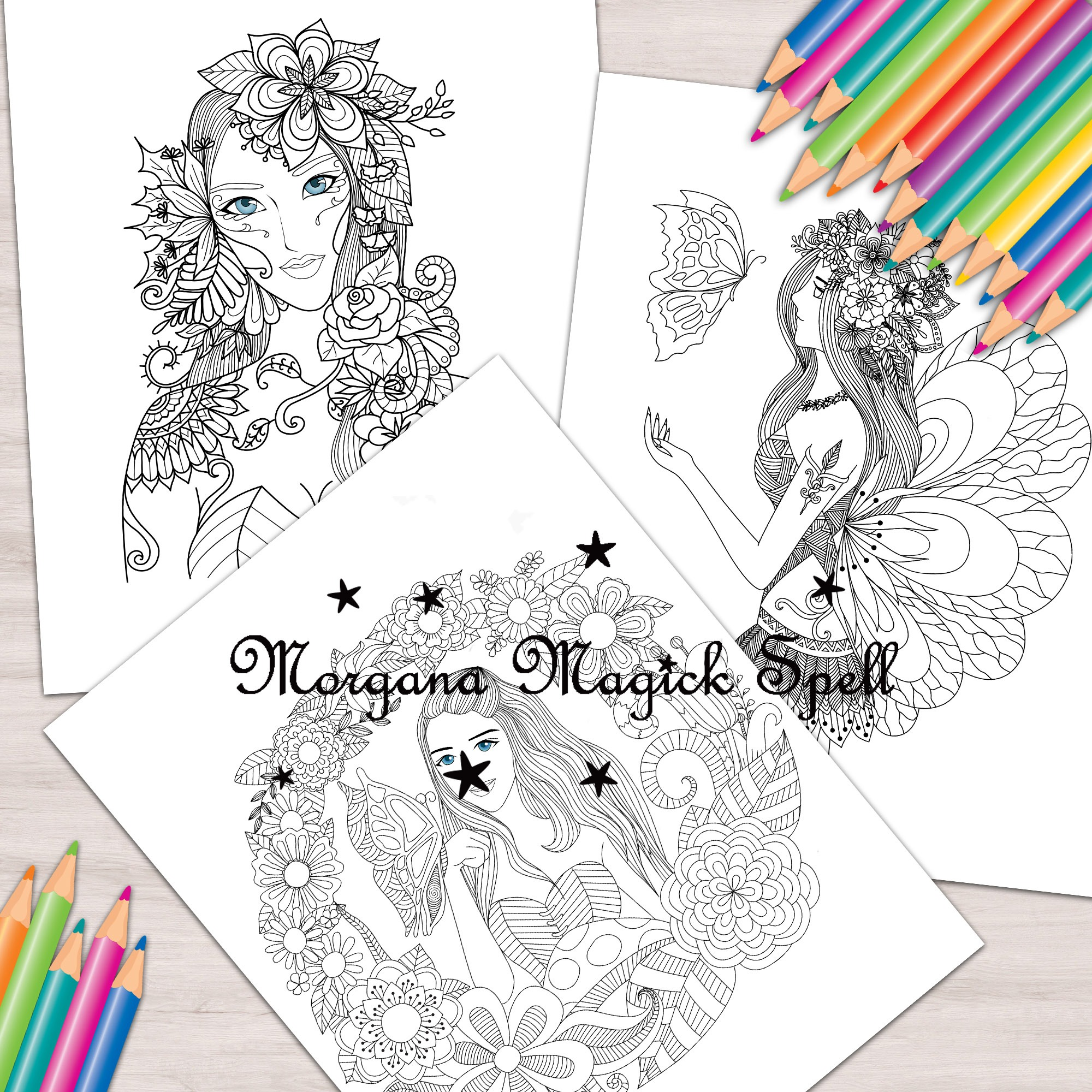 FANTASY FAIRIES 10 Pages Adult Coloring Book
