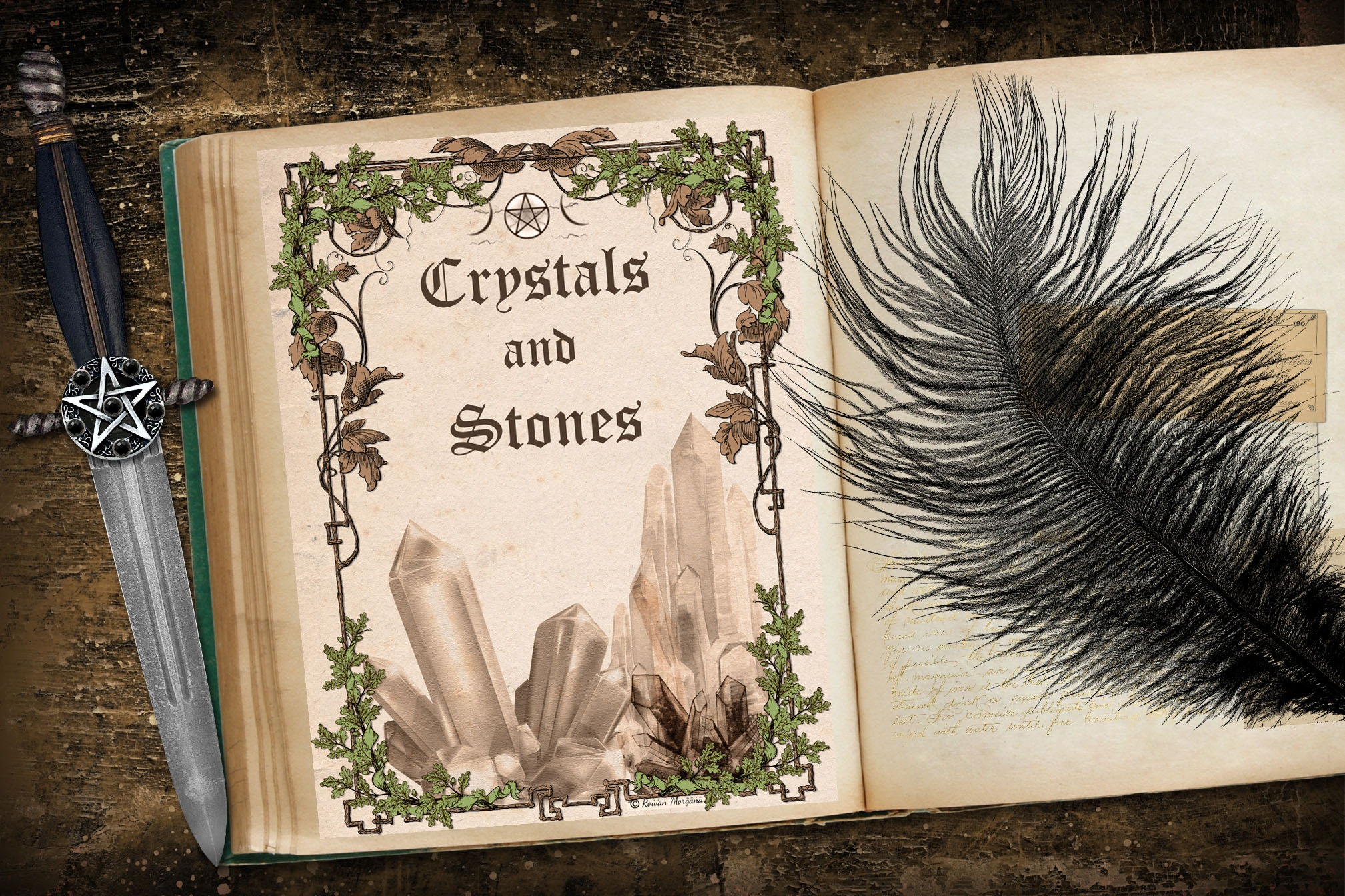 CRYSTALS and STONES Book of Shadows Title Page - Parchment