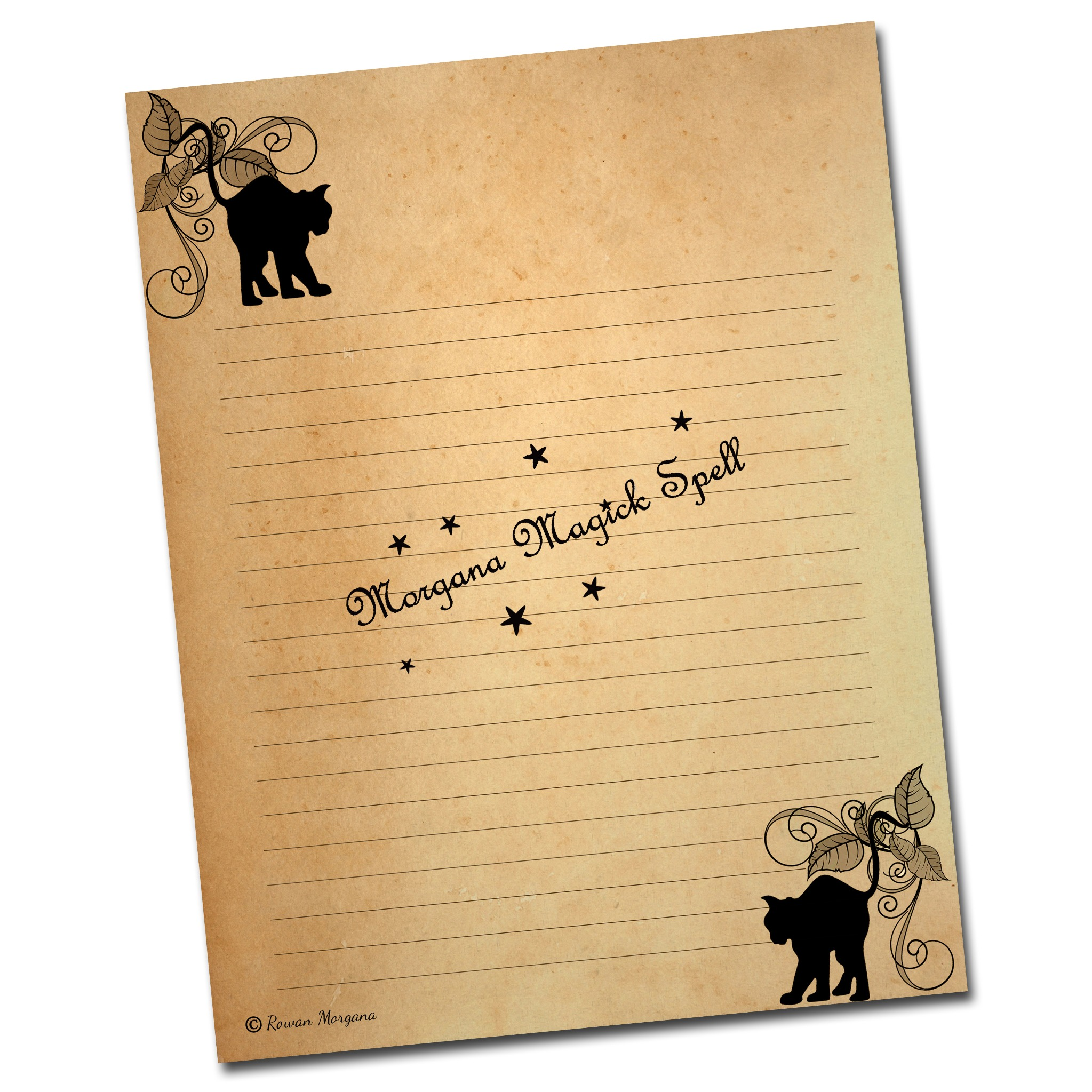 WICCAN  TEA STAINED  Lined Stationary - 3 Pages
