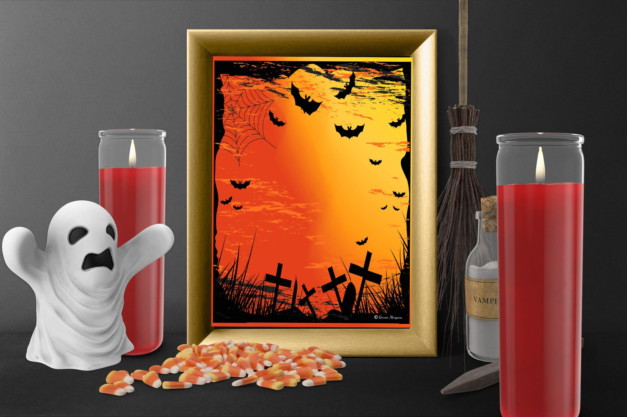GRAVEYARD BATS Halloween Page for Book of Shadows