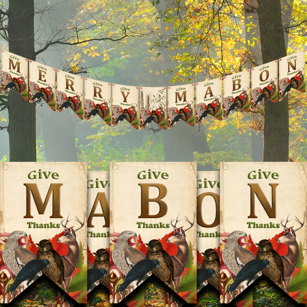 MERRY MABON  BANNER, Thanksgiving, Fall Printable Bunting