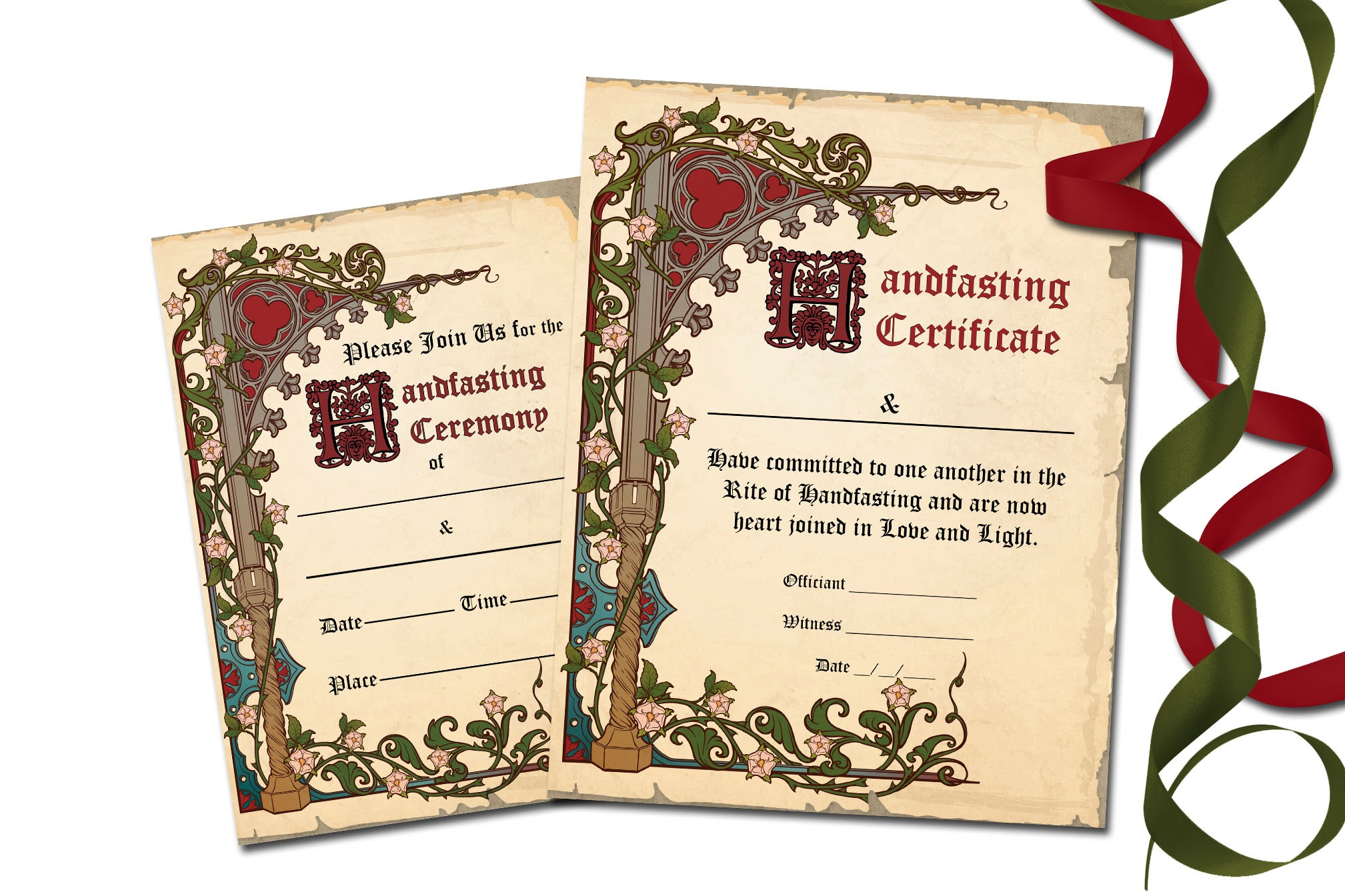 MEDIEVAL HANDFASTING Certificate & Invitation