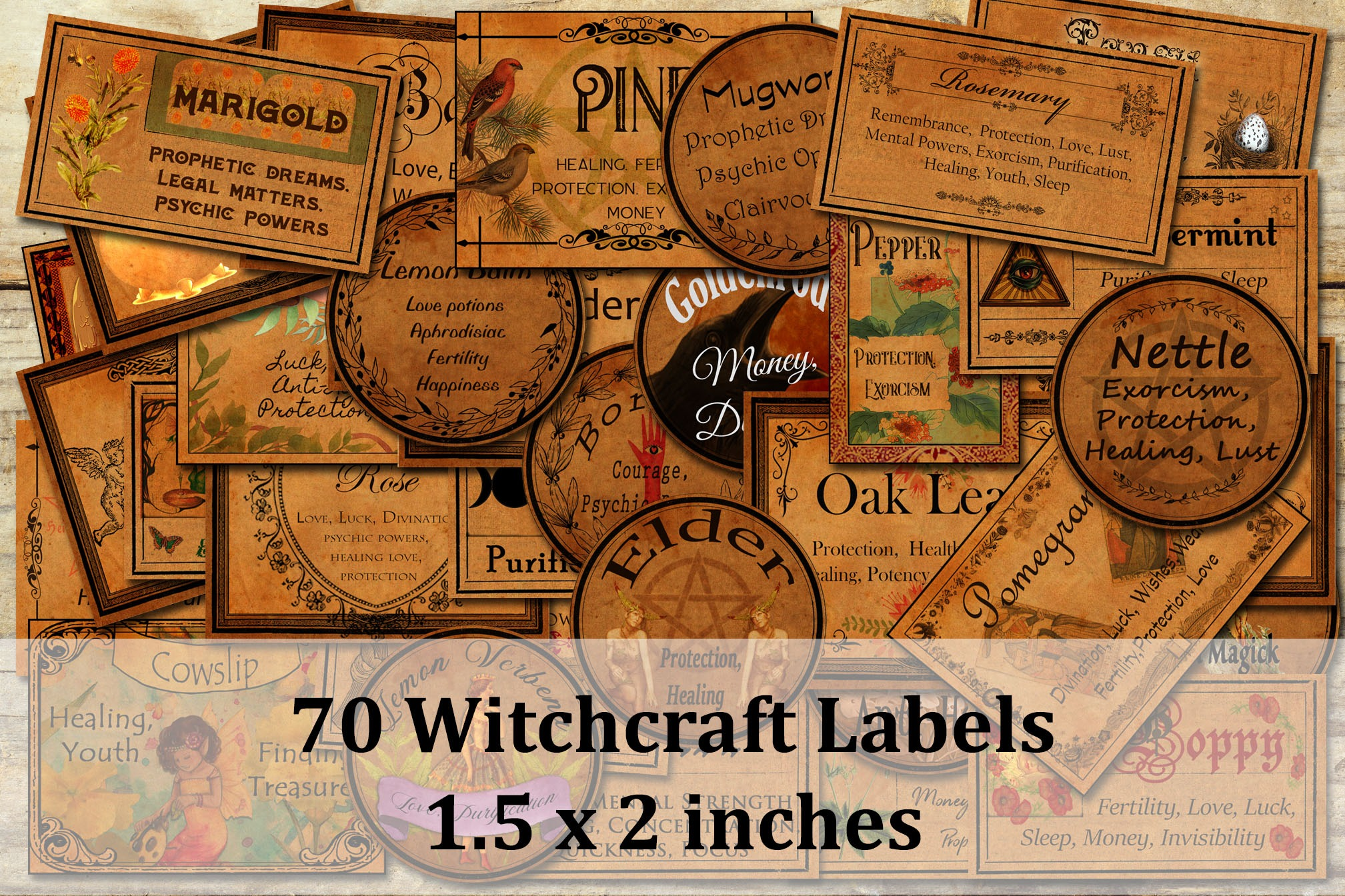 "70 WITCHCRAFT APOTHECARY LABELS  Size 1.5"" x 2"""