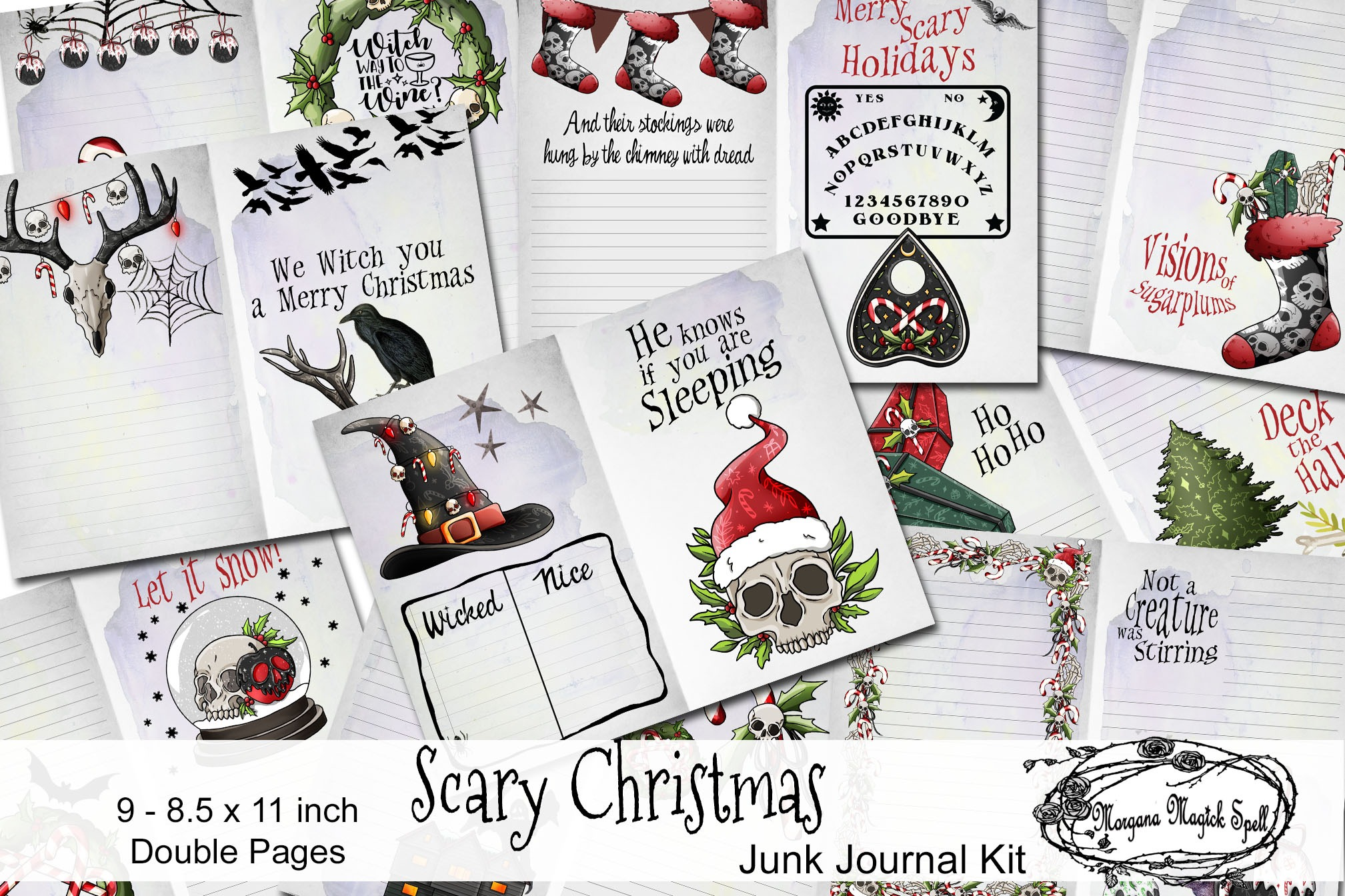 SCARY CHRISTMAS Junk Journal Kit  - 9 Printable Pages
