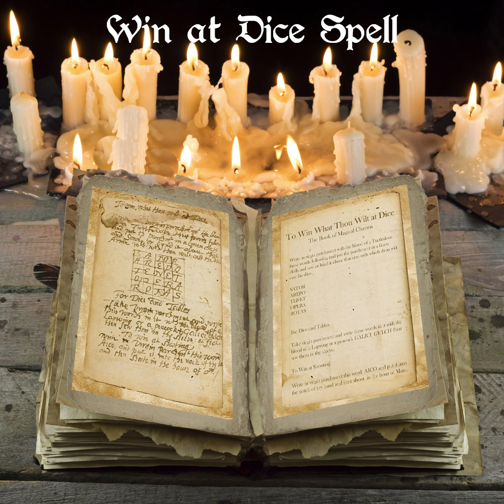 TO WIN at DICE Ancient Handwritten Spell