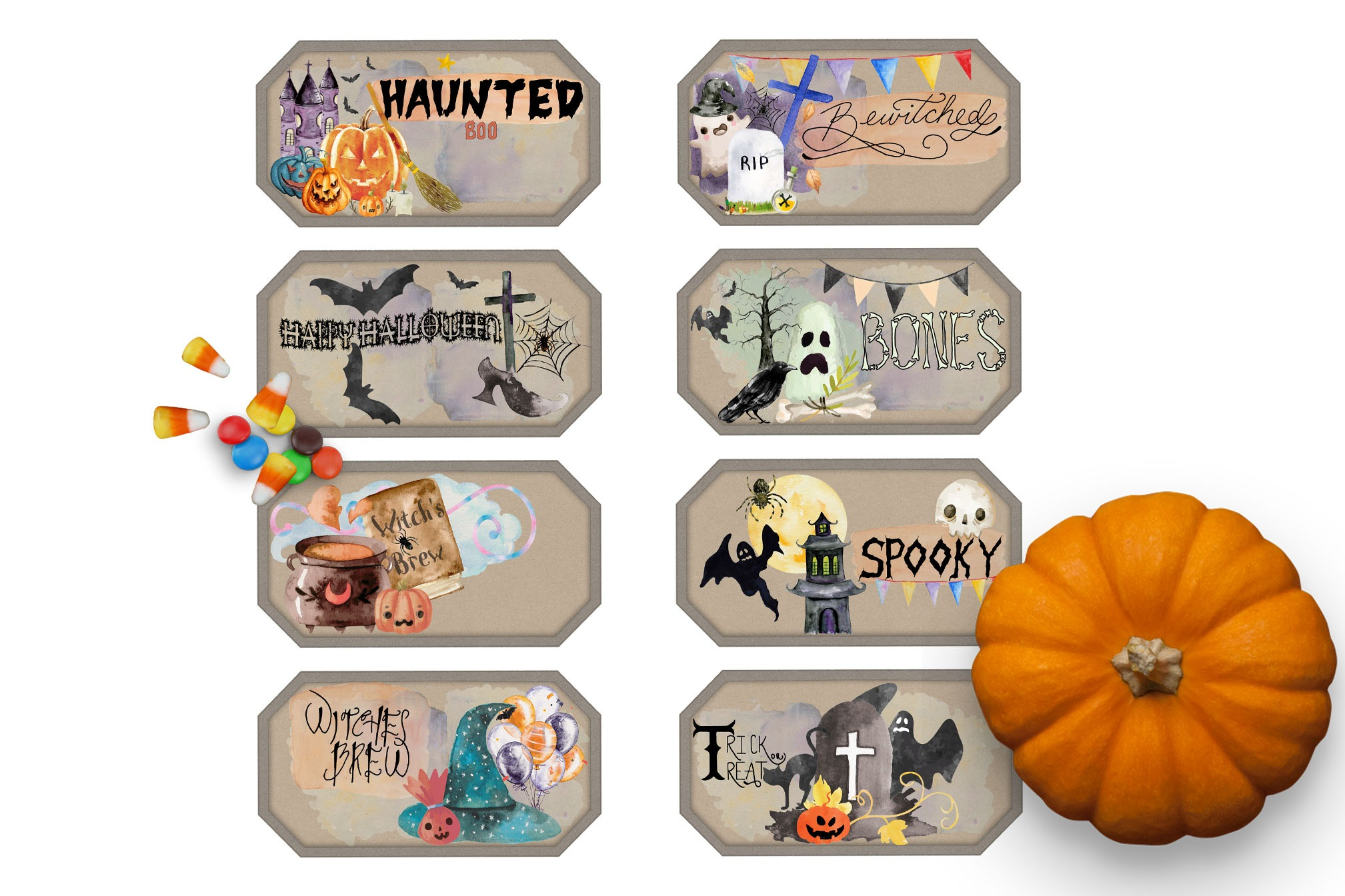 HALLOWEEN WATERC0LOR LABELS  *8 Labels*