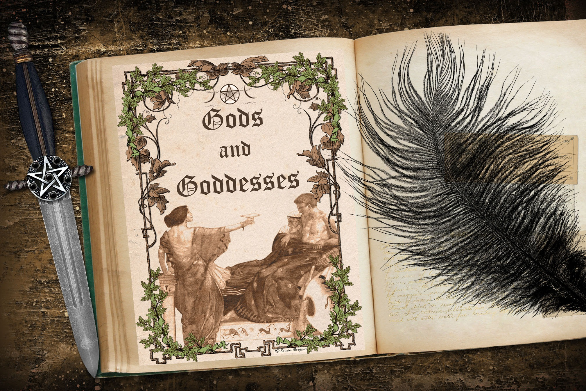GODS & GODDESSES Book of Shadows Title Page - Parchment