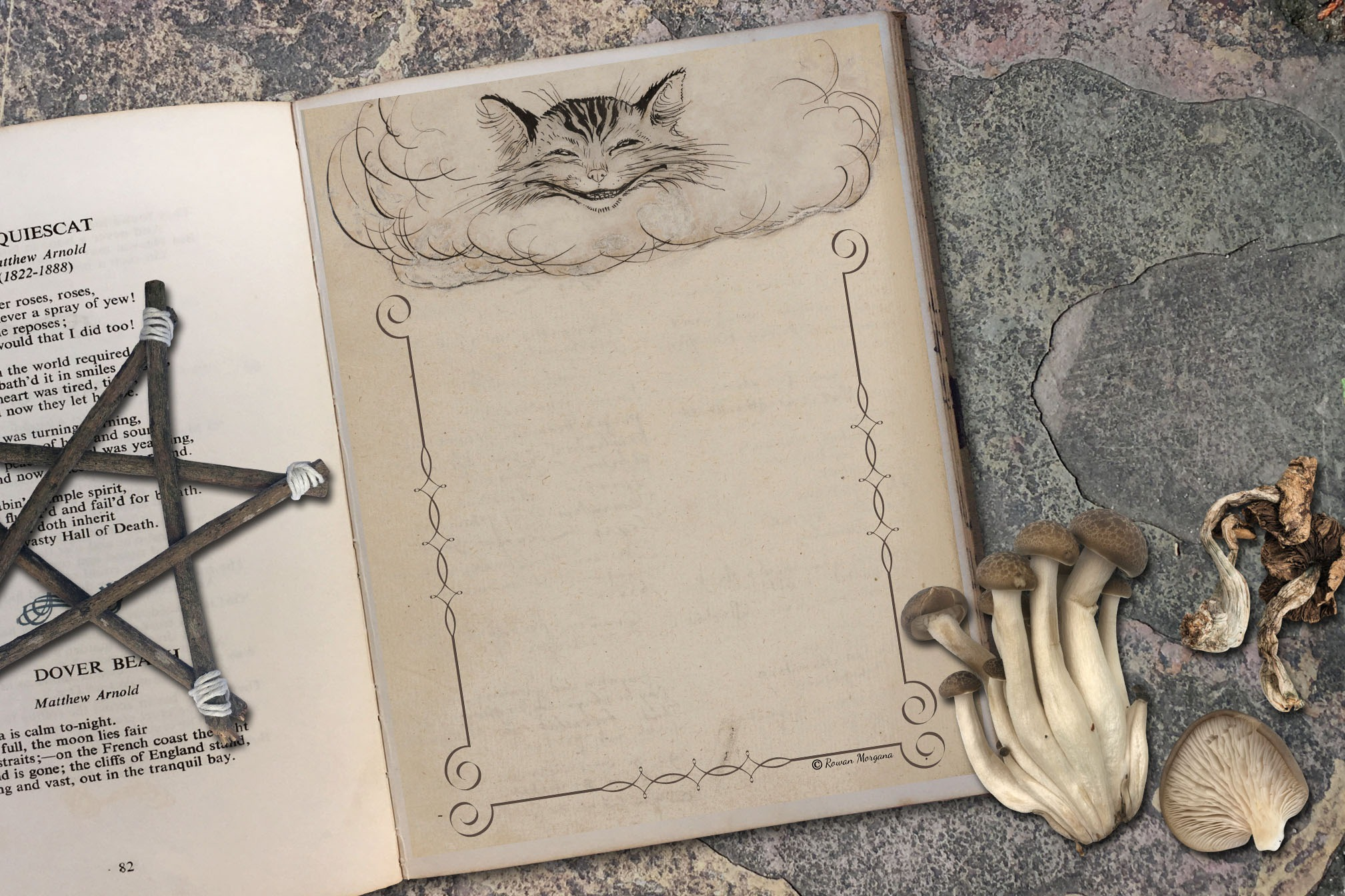 CHESHIRE CAT Blank Book of Shadows Page