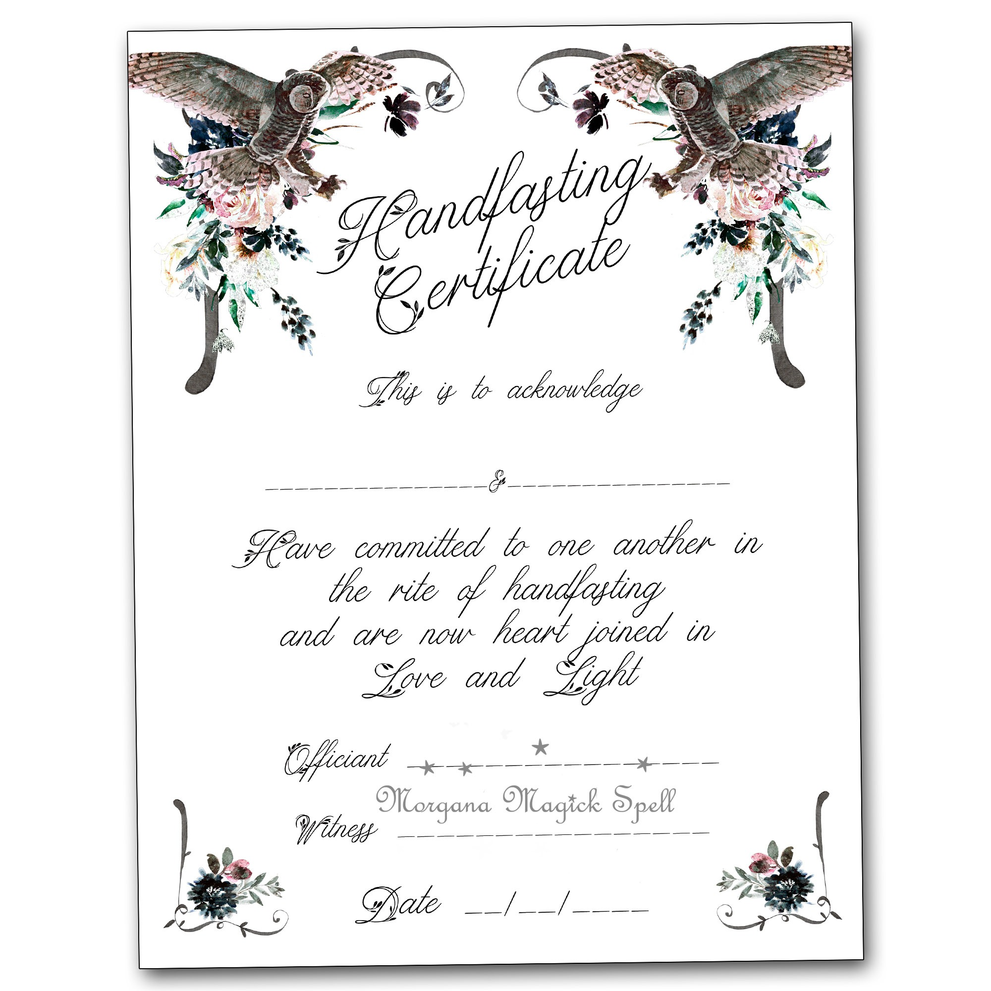 HANDFASTING CERTIFICATE Once Upon a Dream