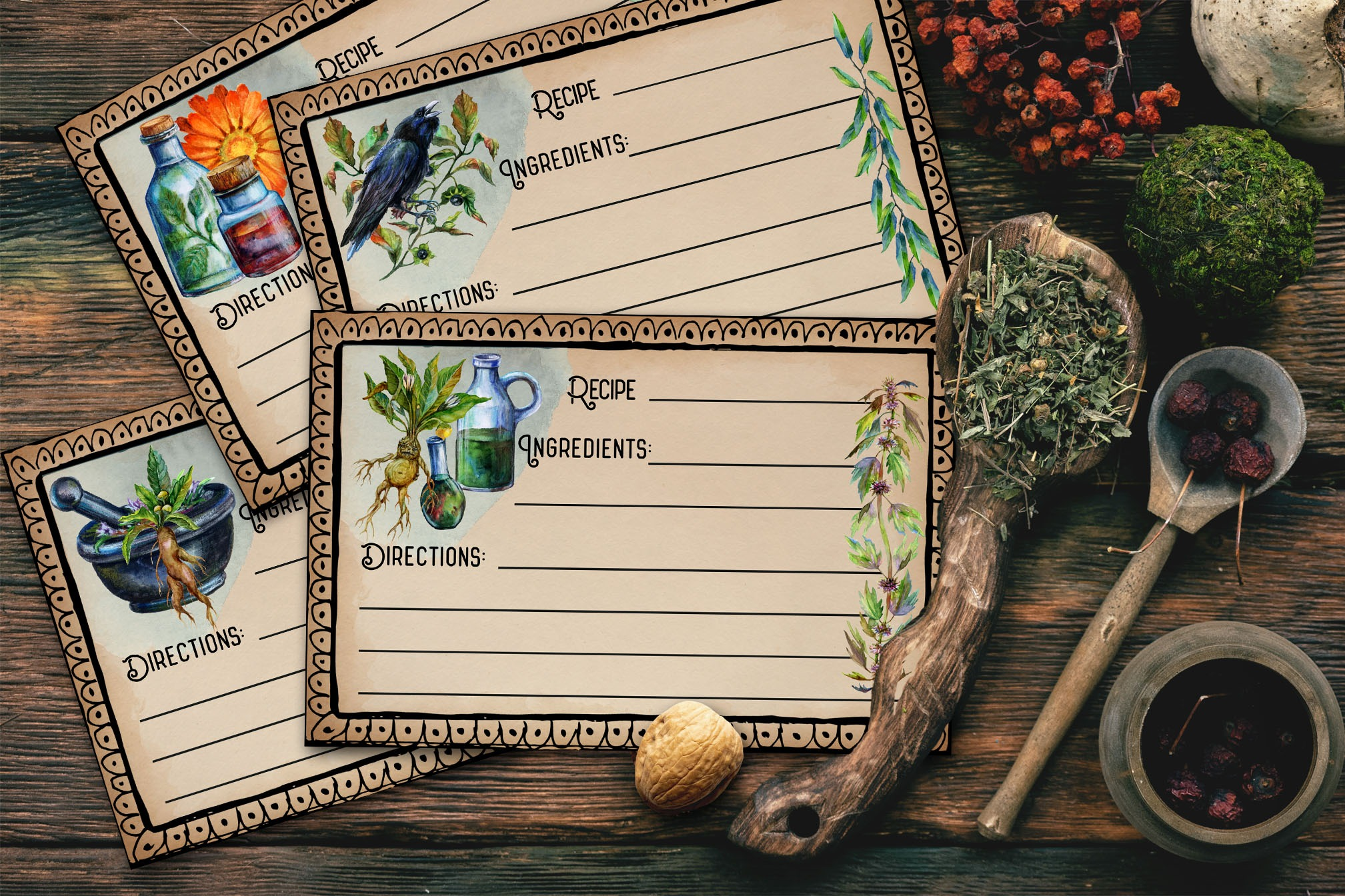 KITCHEN WITCH Recipe Cards