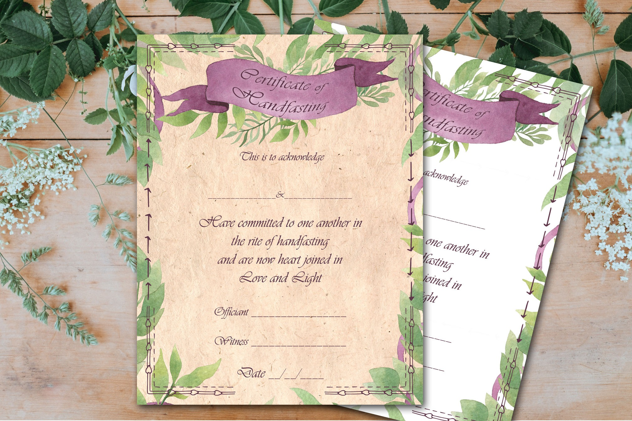HANDFASTING CERTIFICATE - Green Witch
