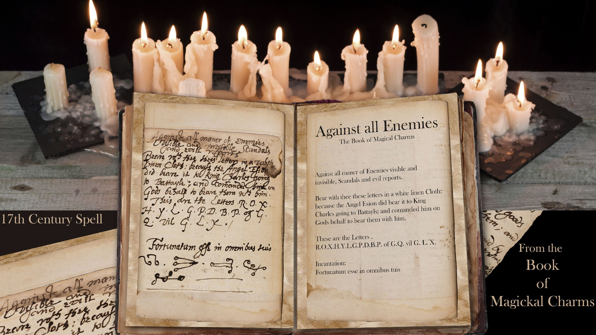 AGAINST ALL ENEMIES Ancient Handwritten  Spell