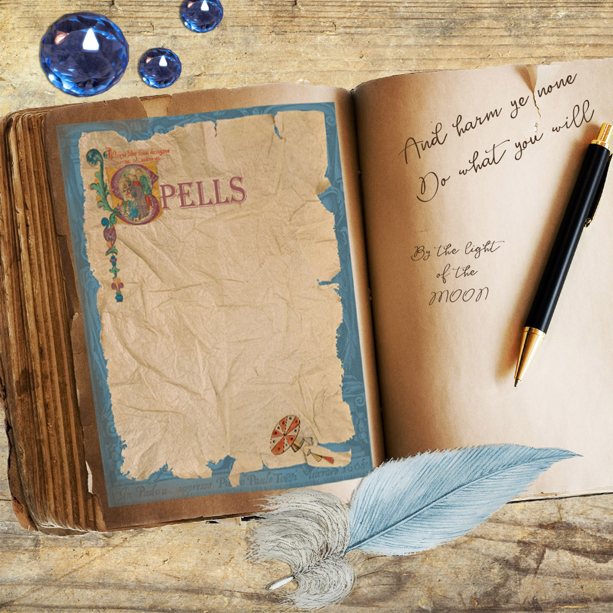 ANCIENT SPELLS BLANK page for Book of Shadows