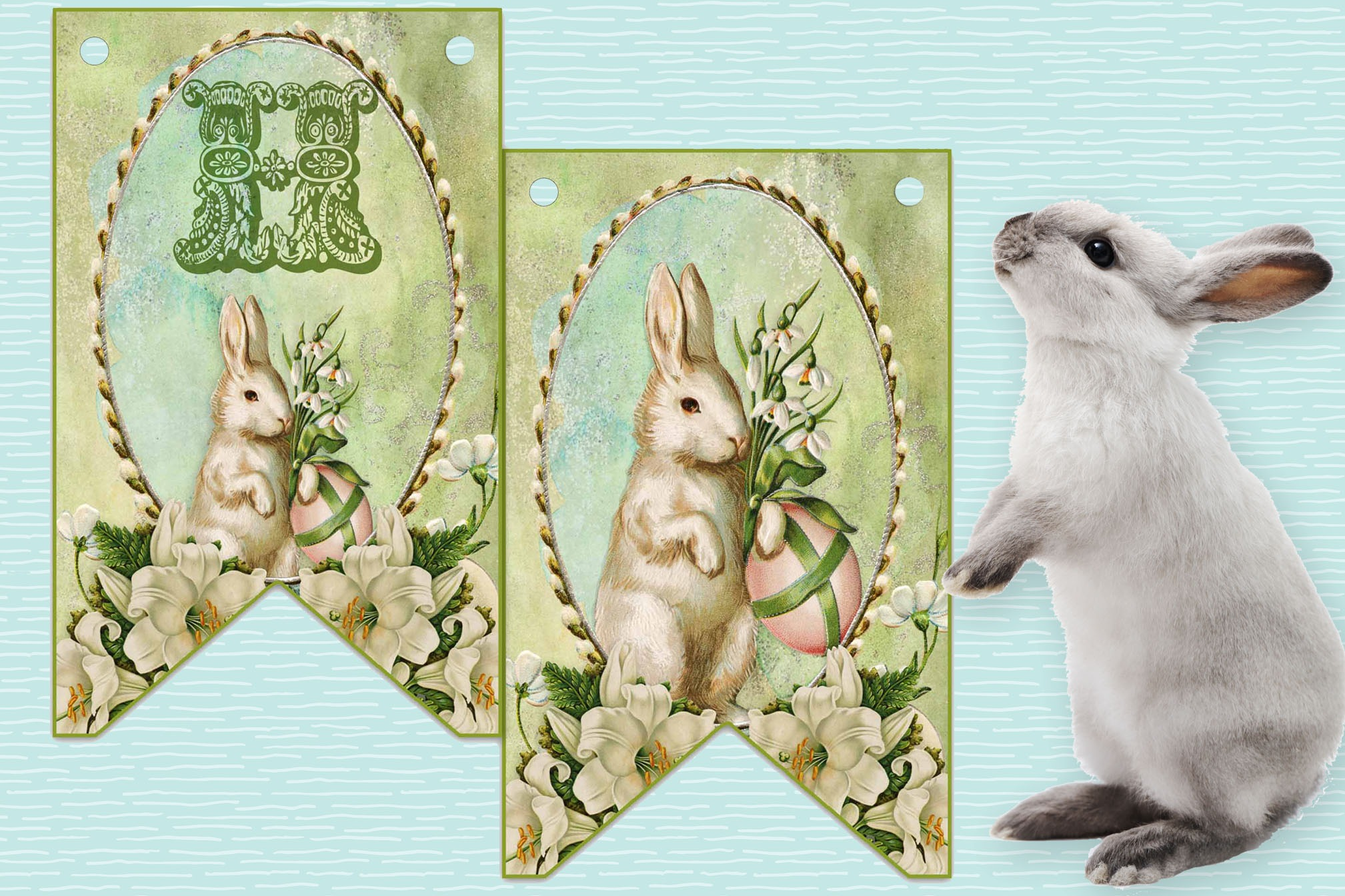 HAPPY OSTARA  BANNER, Printable Bunting