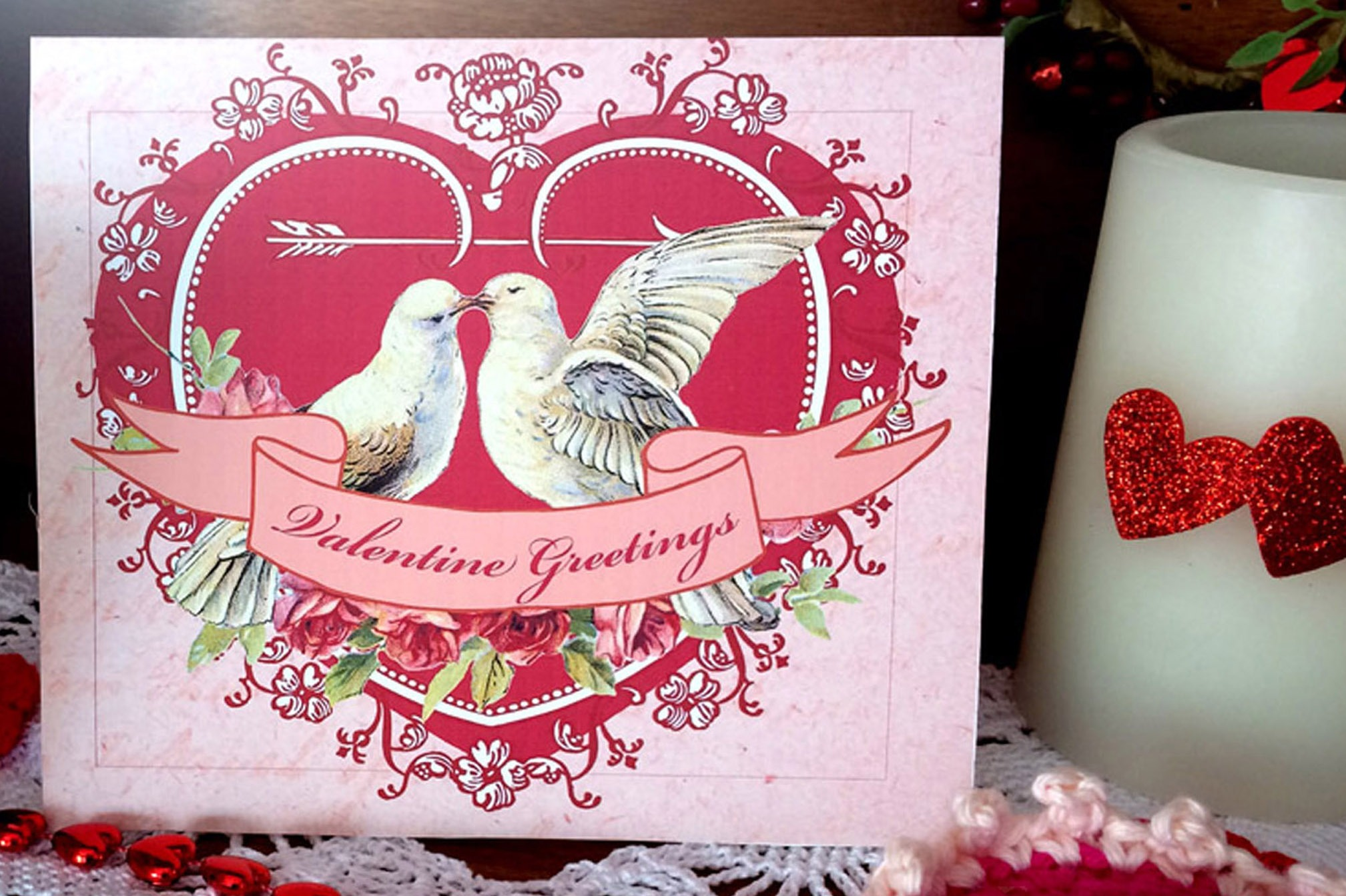 VALENTINE HEARTS & DOVES -  Greeting Card and Postcard