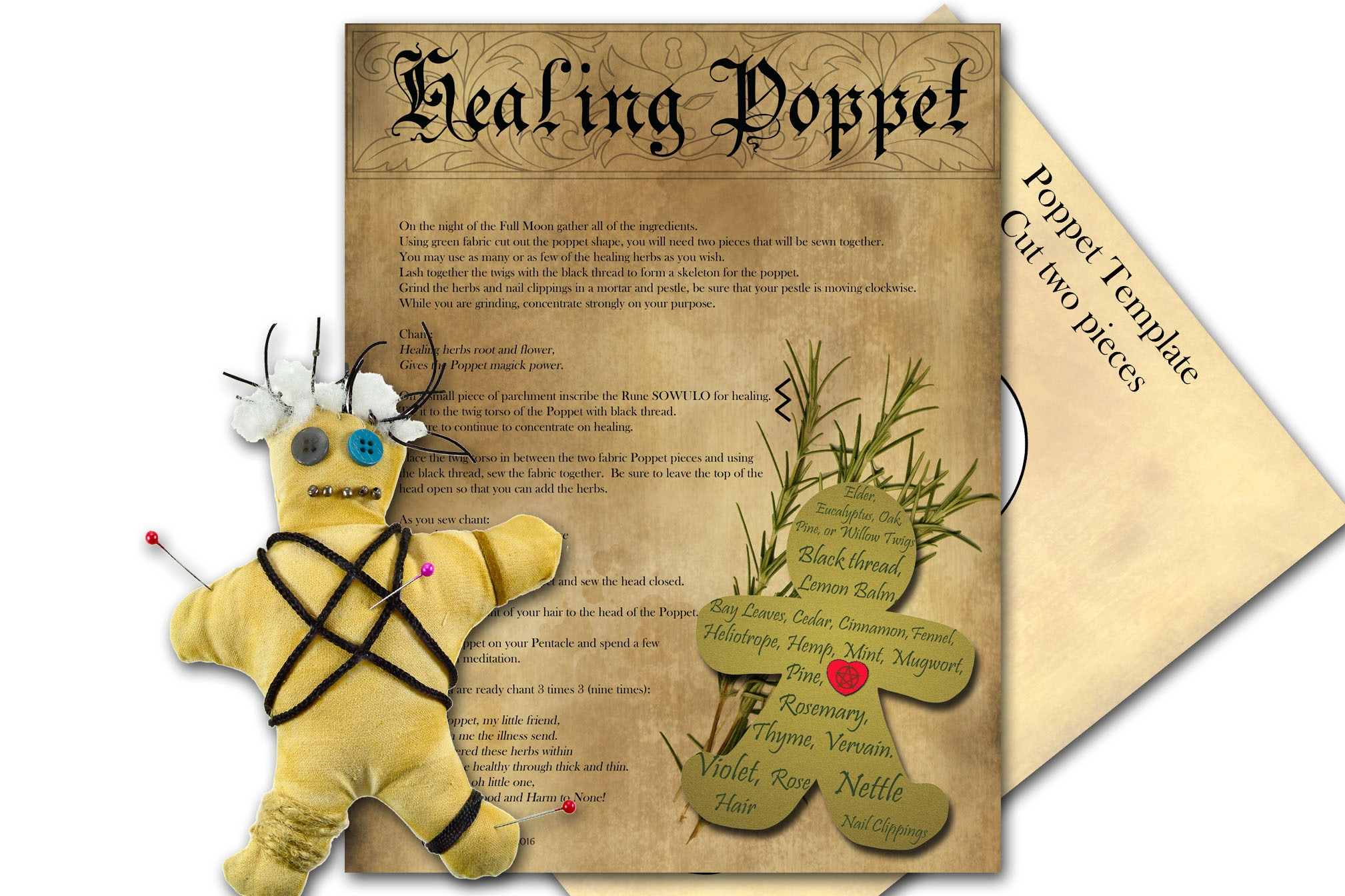 HEALING POPPET  SPELL with Poppet Pattern