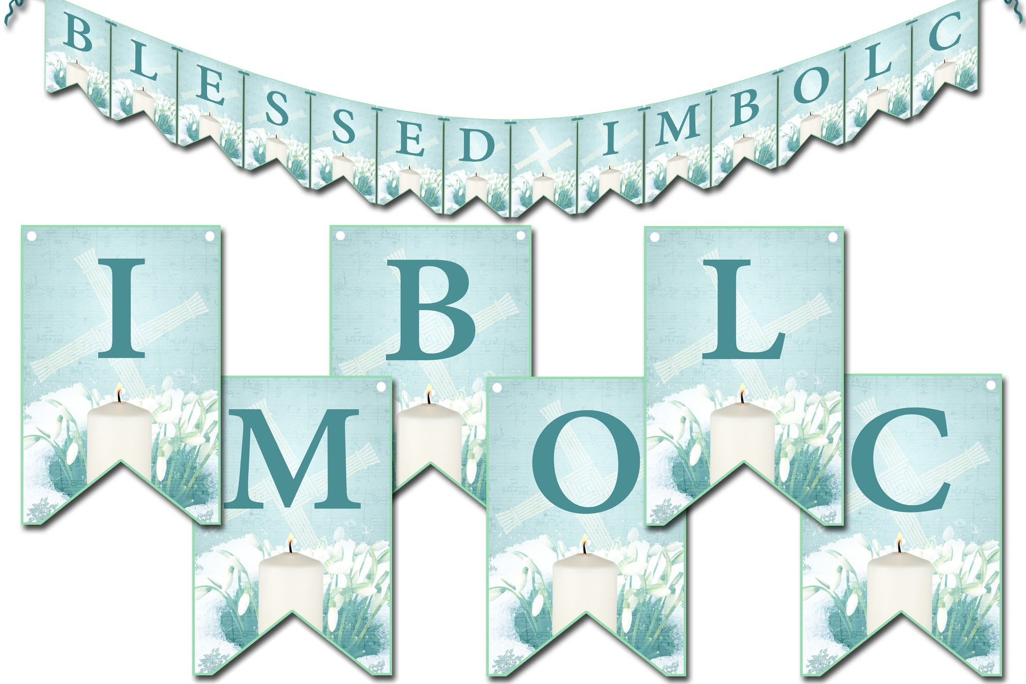 BLESSED IMBOLC  BANNER, Printable Bunting
