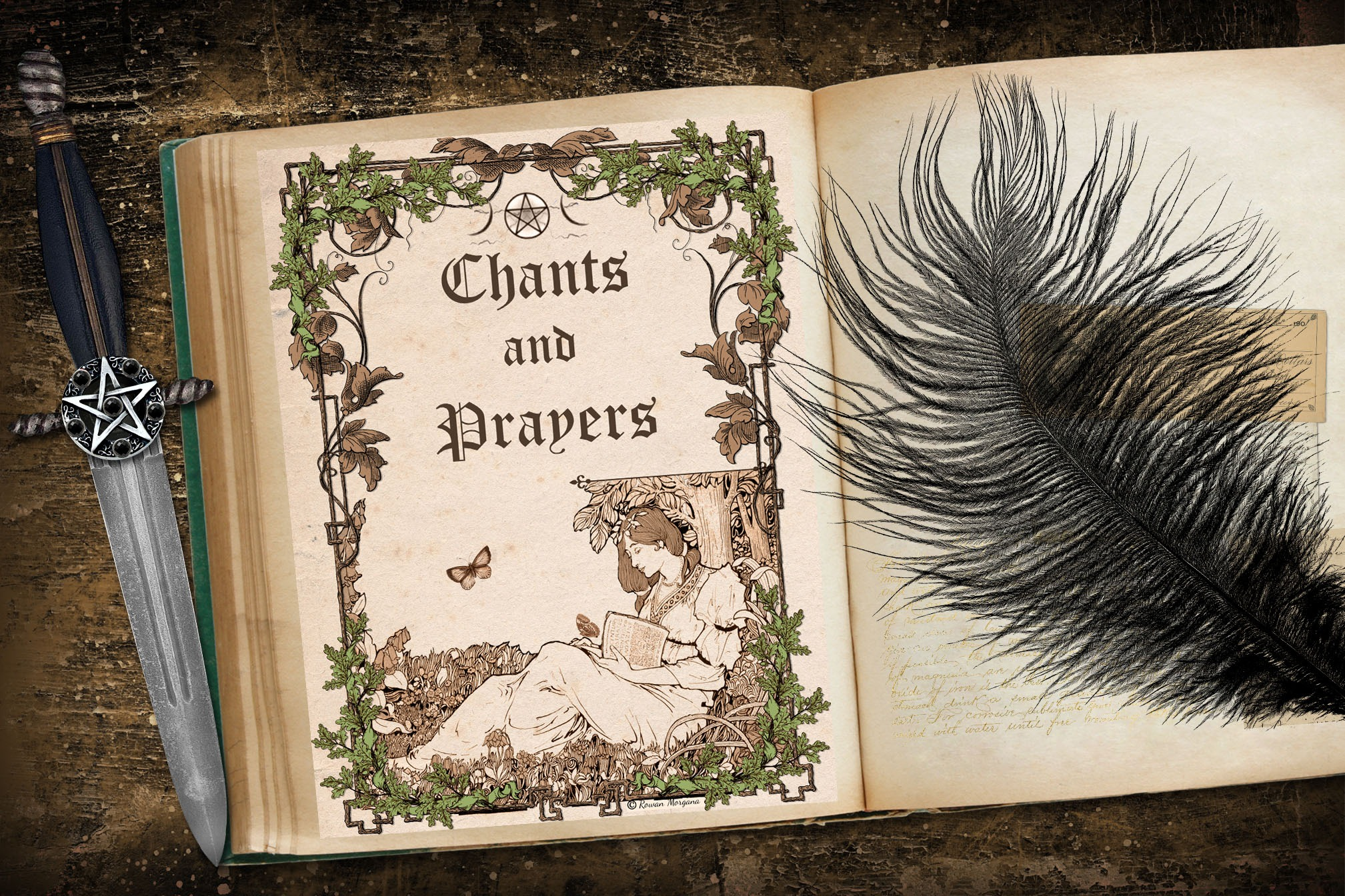 CHANTS & PRAYERS Book of Shadows Title Page - Parchment
