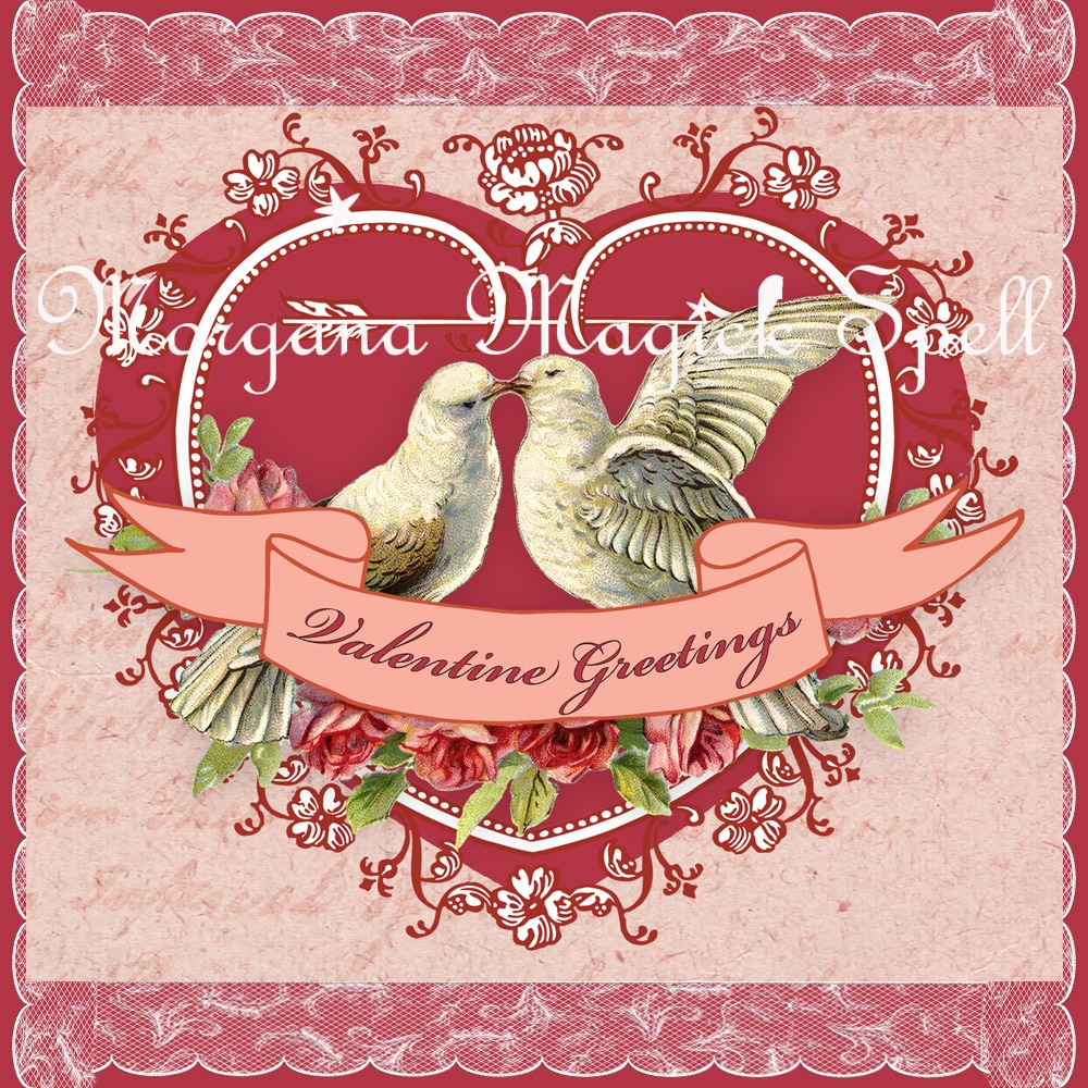 VALENTINE HEARTS & DOVES Greeting Card and Postcard