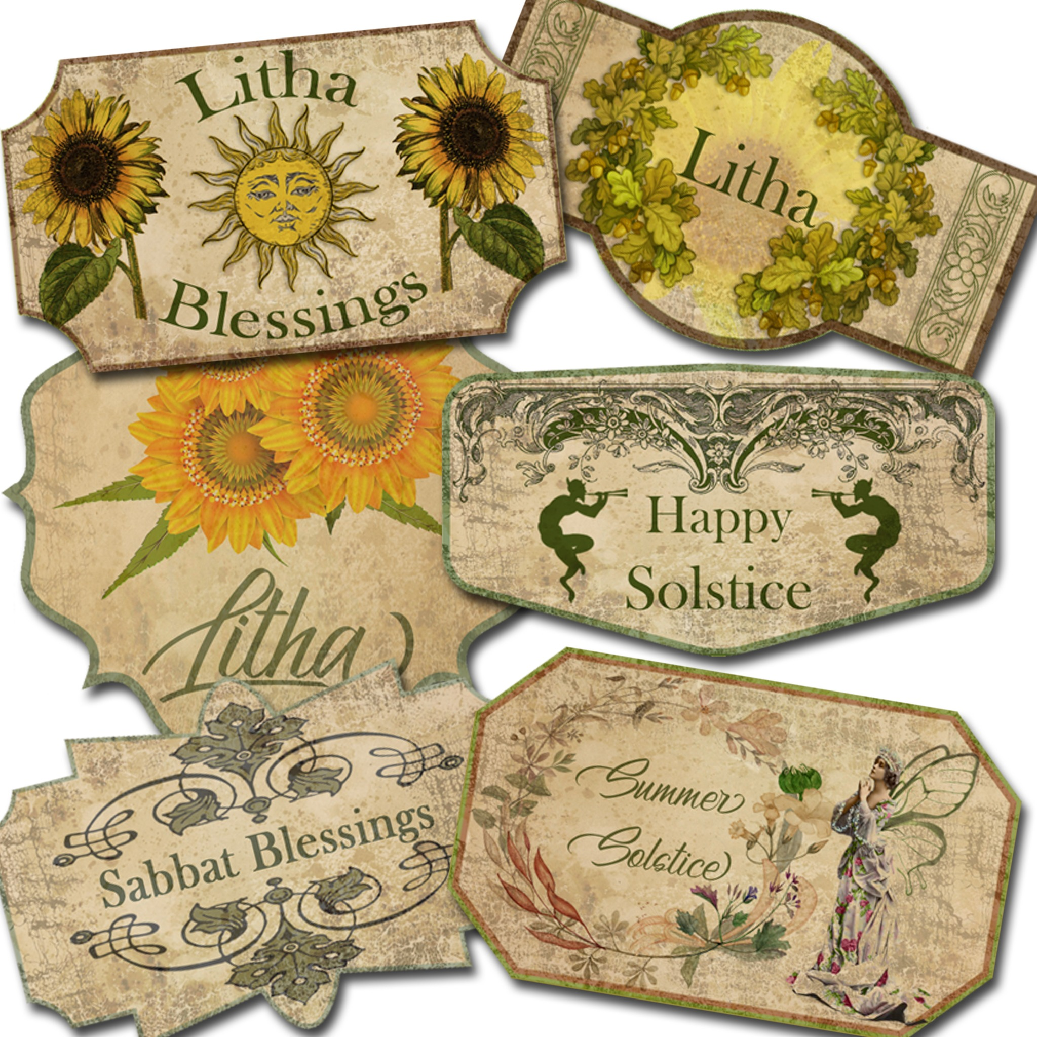 LITHA SABBAT LABELS - 6 Labels - 2 sizes large and small