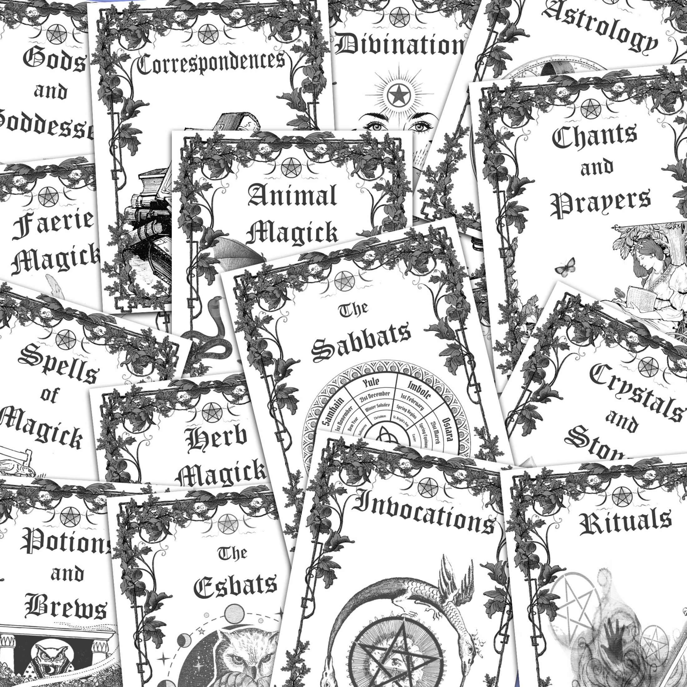 ALL 16 Book of Shadows TITLE PAGES