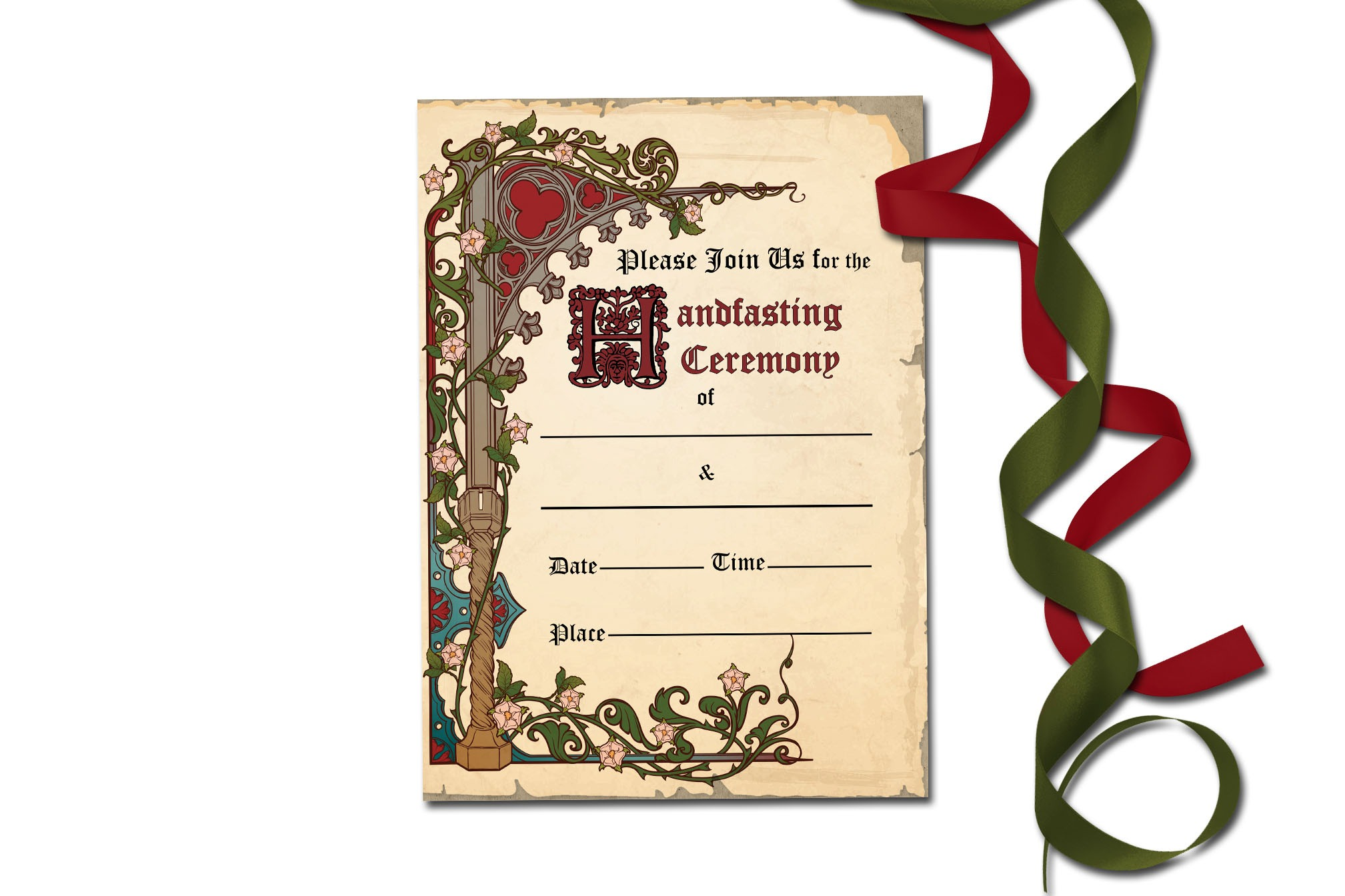 HANDFASTING  MEDIEVAL SYLE Certificate & Invitation