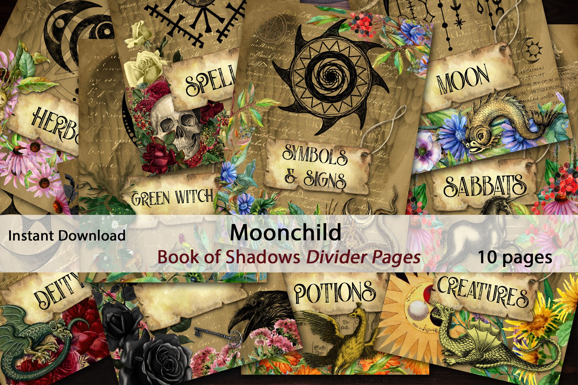 TITLE PAGES for Book of Shadows  MOONCHILD  10 pages  Grimoire Dividers